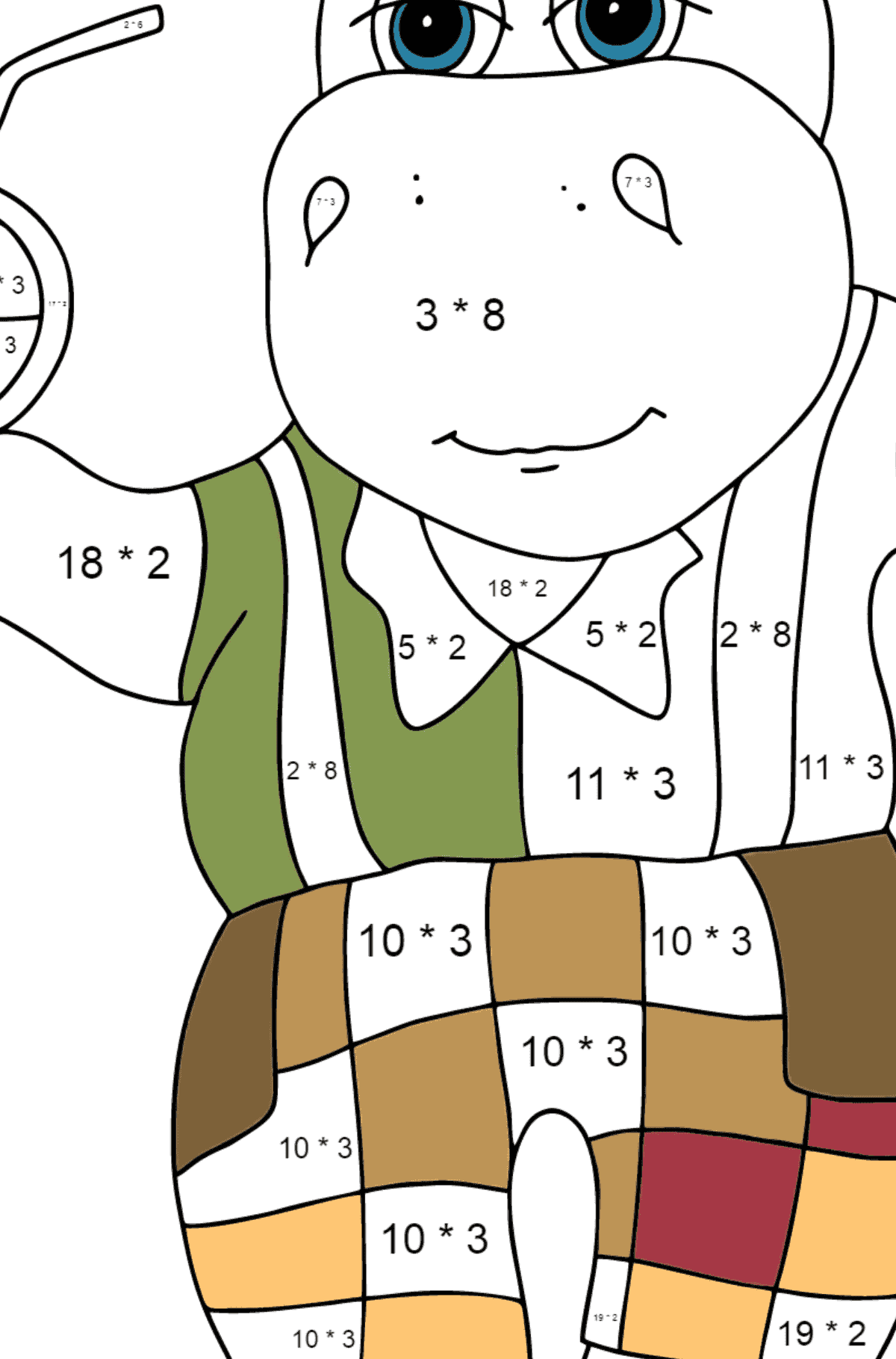 A Hippo is Drinking Orange Juice on a Beach for Kids - Math Coloring By Multiplication