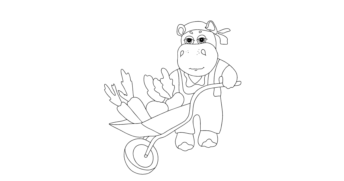 Online Coloring Page A Hippo Is Driving A Cart With Crops