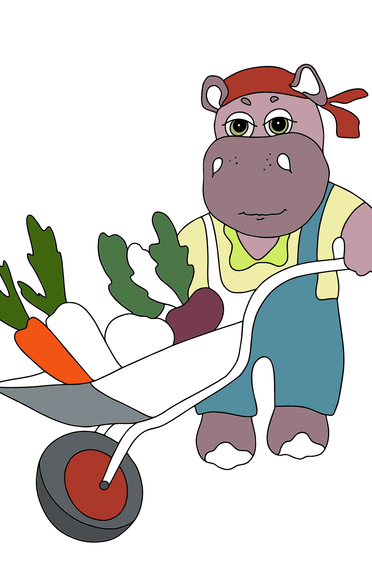 Coloring Page - A Hippo is Driving a Cart with Crops for Kids
