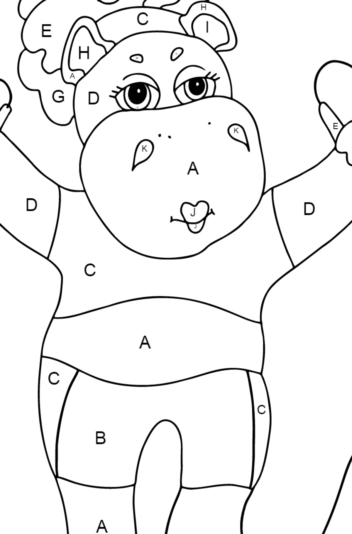 Coloring Page - A Hippo is Jumping on a Rope for Children  - Color by Letters