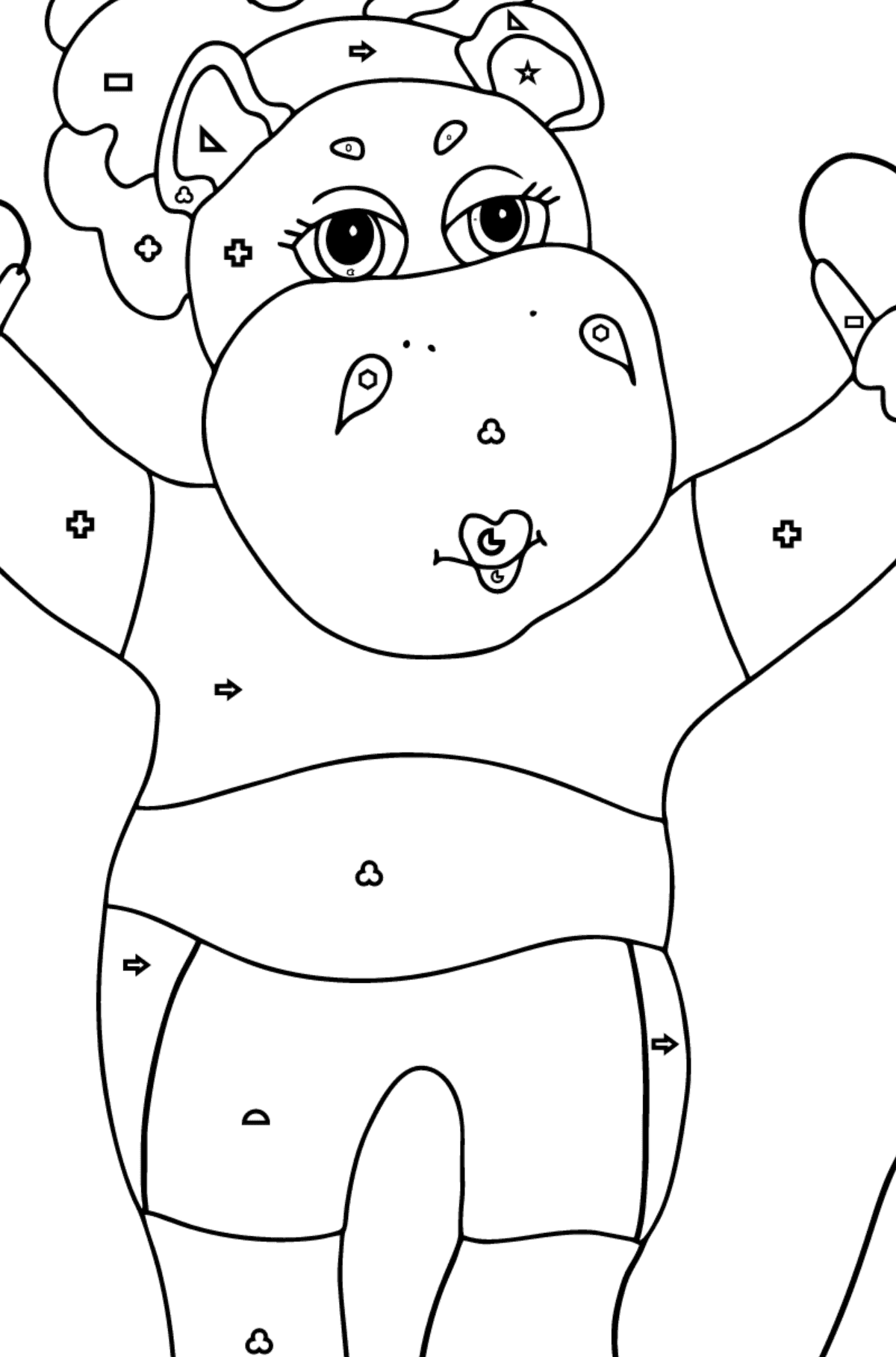 Coloring Page - A Hippo is Jumping on a Rope for Kids  - Color by Geometric Shapes
