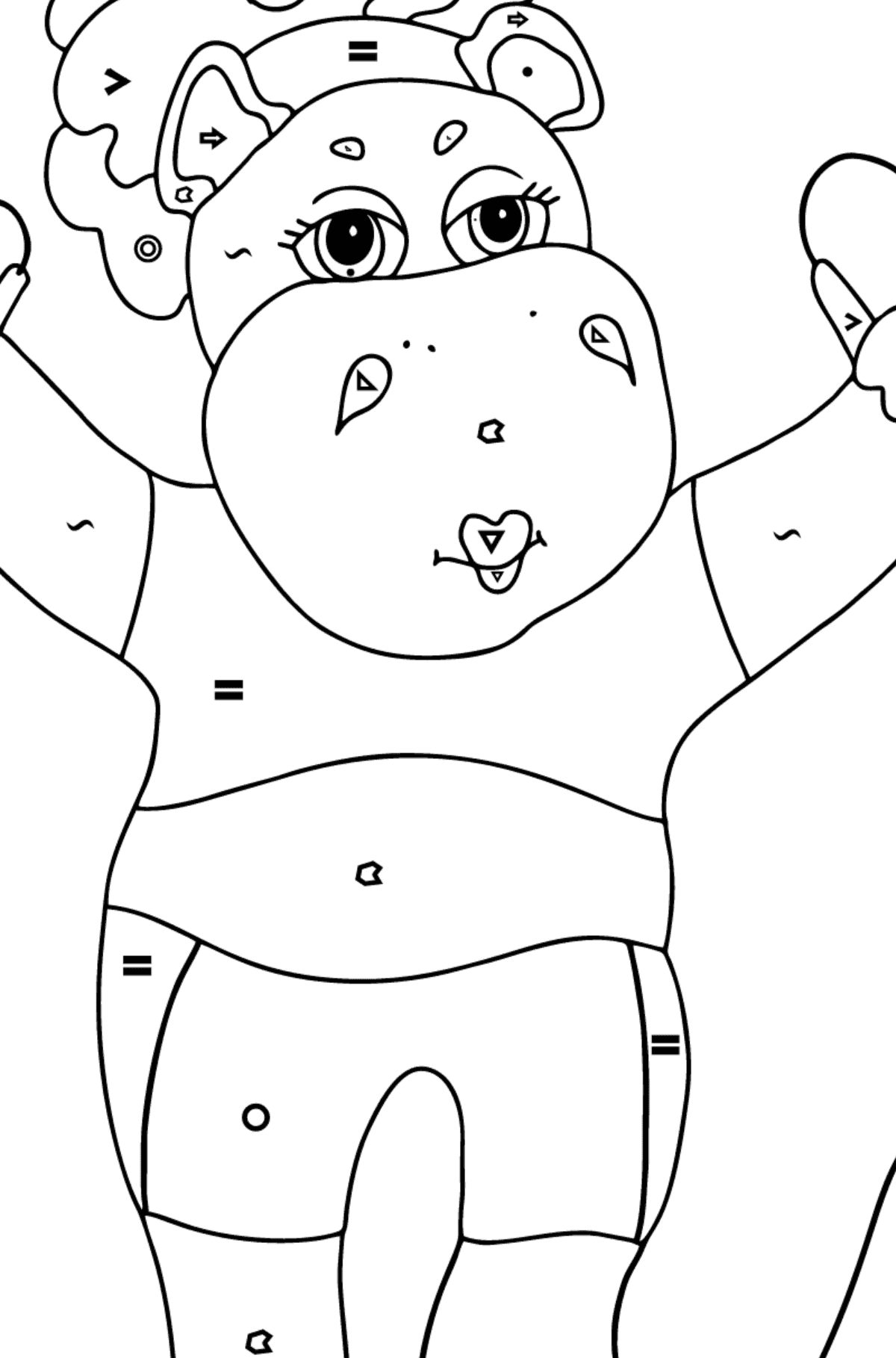 Coloring Page - A Hippo is Jumping on a Rope for Children  - Color by Symbols and Geometric Shapes