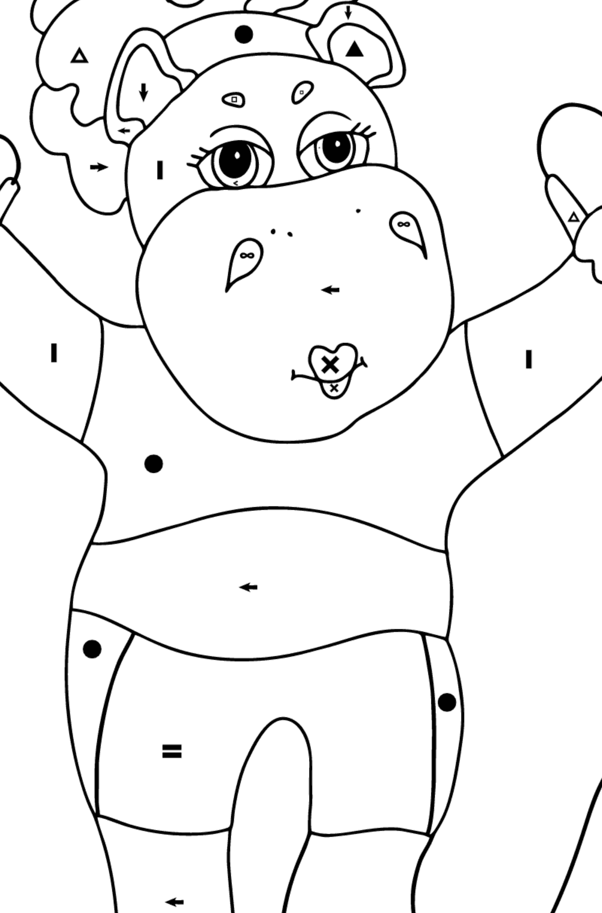 Coloring Page - A Hippo is Jumping on a Rope for Kids  - Color by Special Symbols