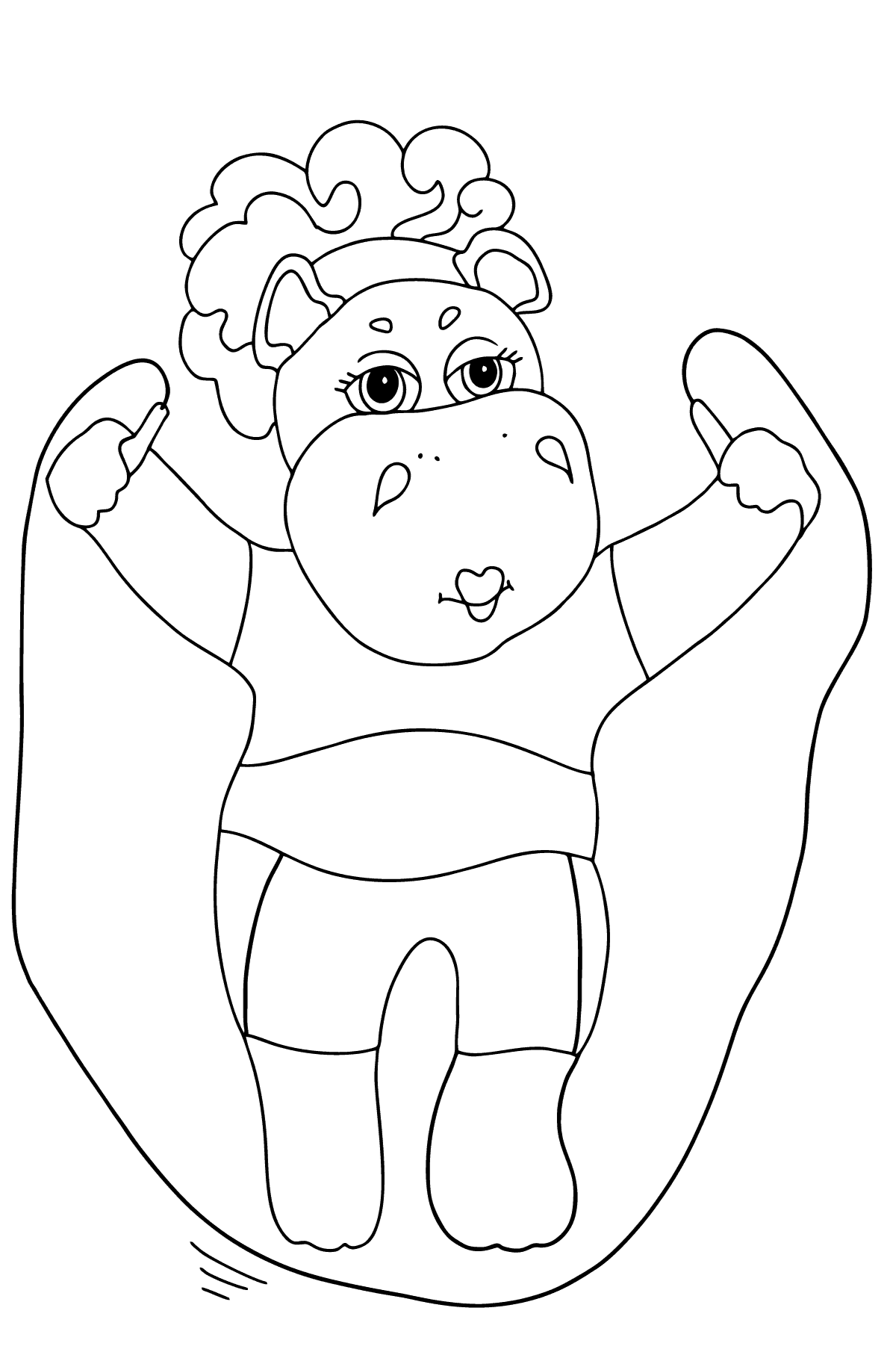 Coloring Page - A Hippo is Jumping on a Rope for Kids