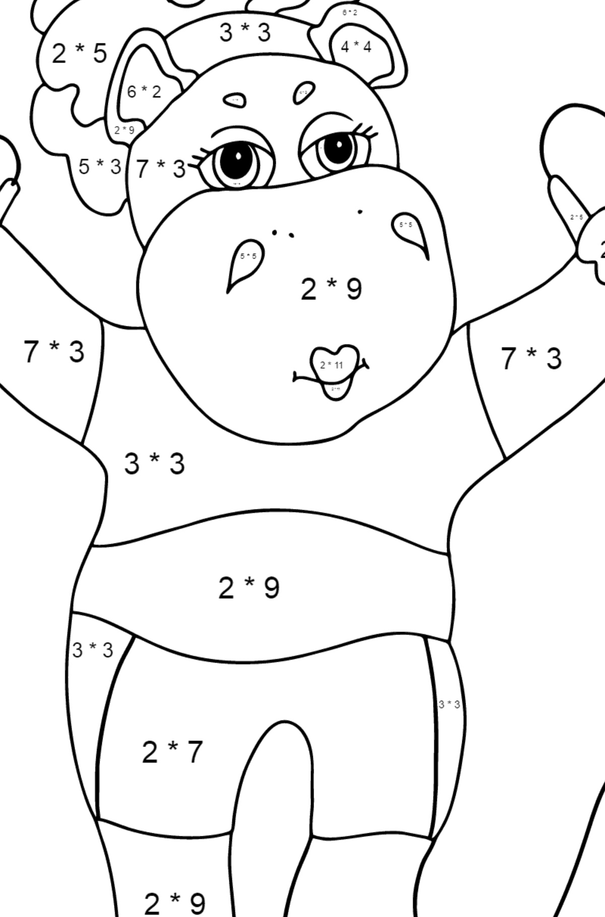 Coloring Page - A Hippo is Jumping on a Rope for Children  - Color by Number Multiplication