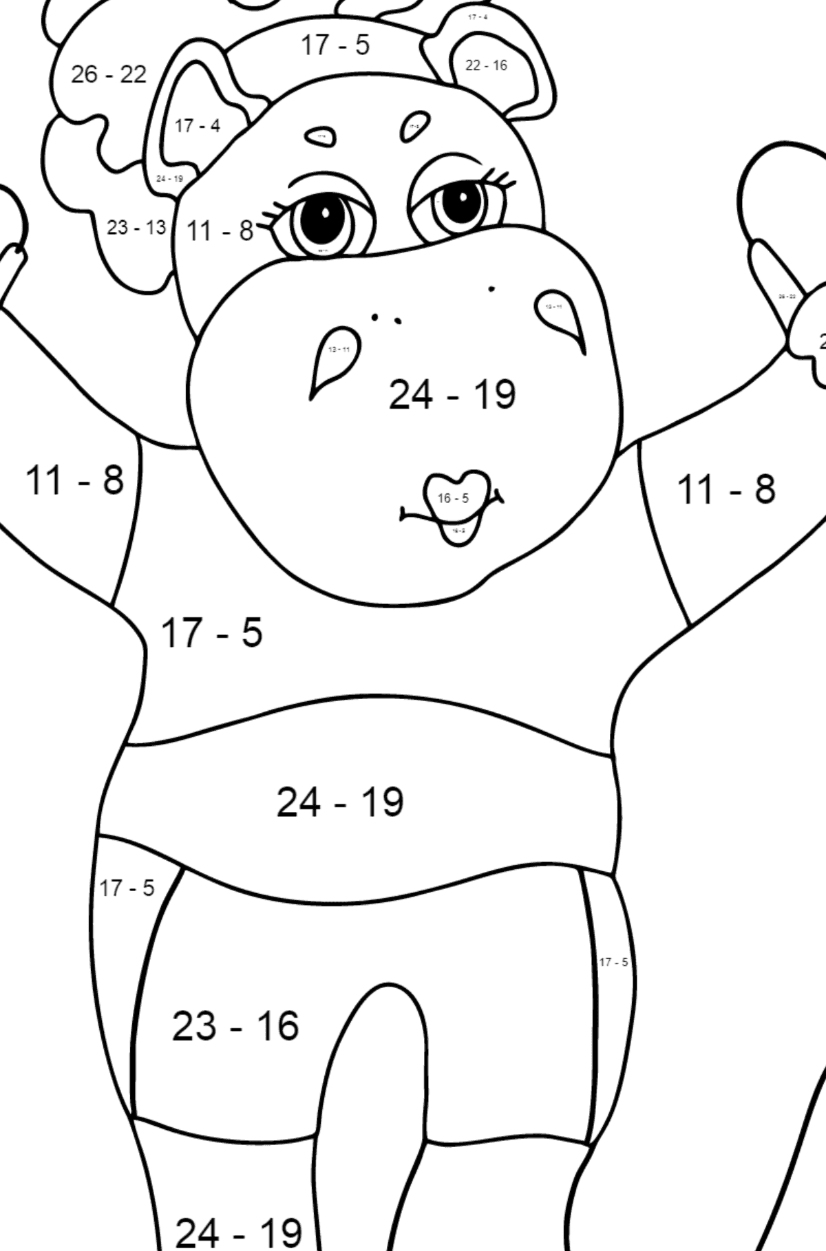 Coloring Page - A Hippo is Jumping on a Rope for Kids  - Color by Number Substraction