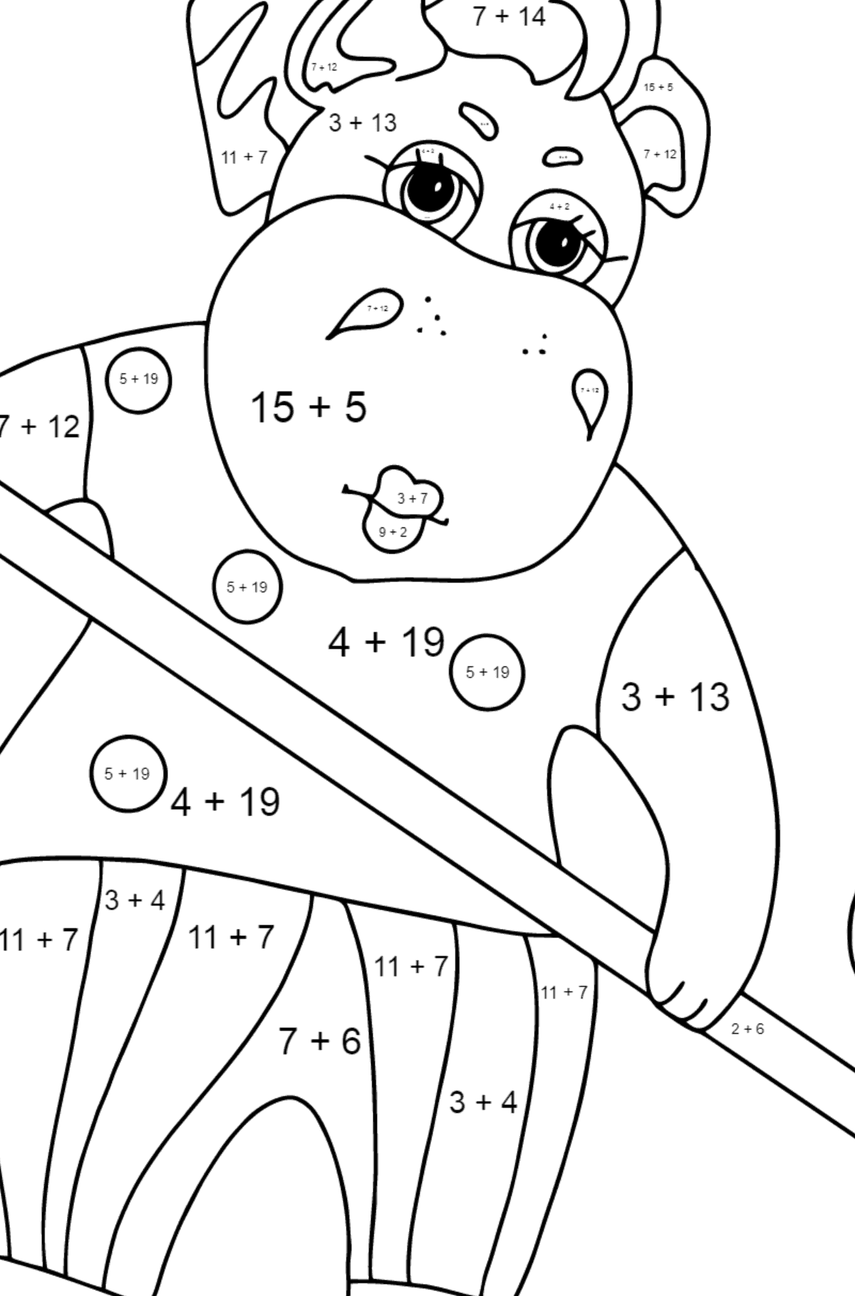 Coloring Page - A Hippo is Sweeping Autumn Leaves for Kids  - Color by Number Addition