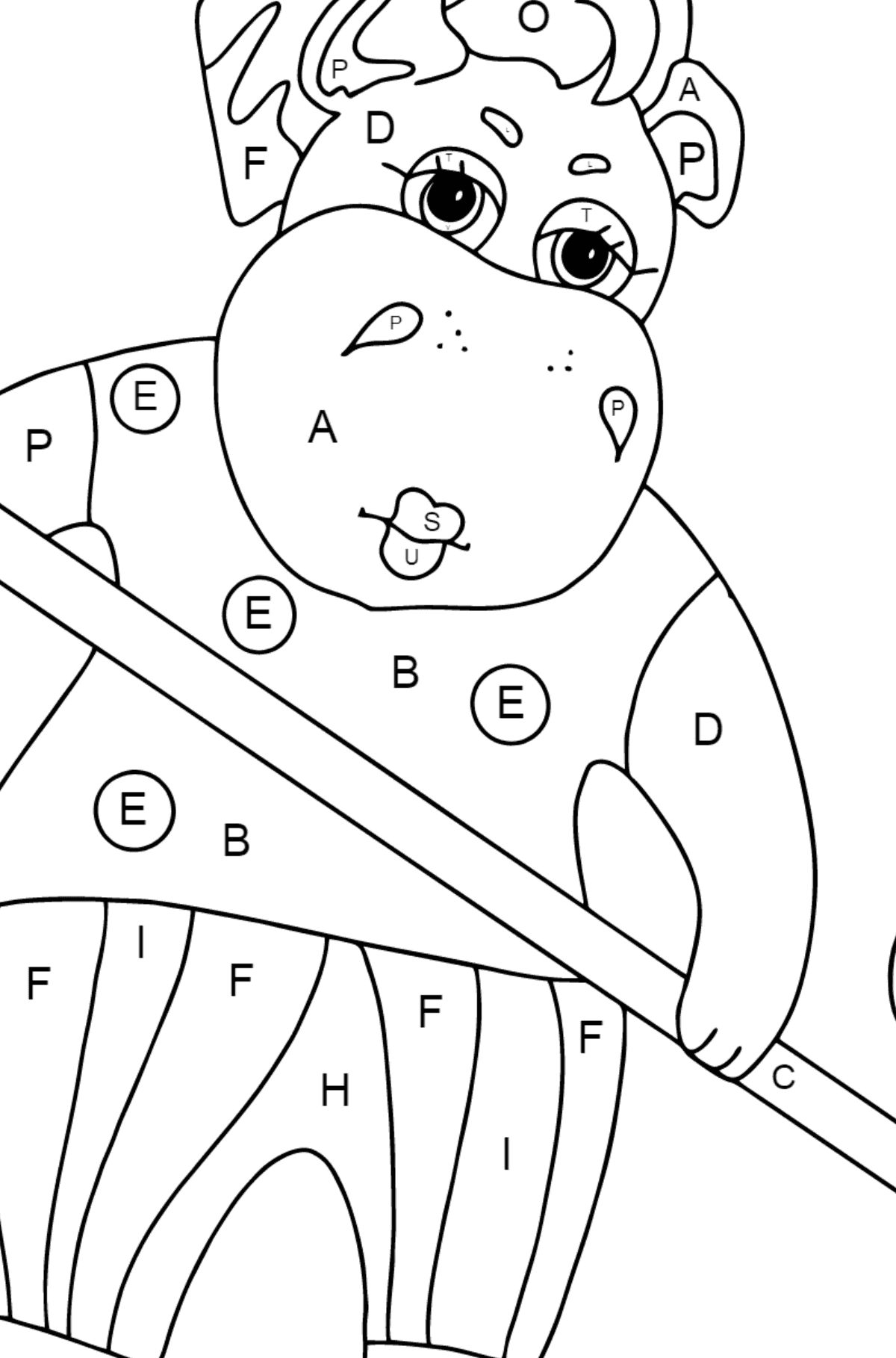 Coloring Page - A Hippo is Sweeping Autumn Leaves for Children  - Color by Letters