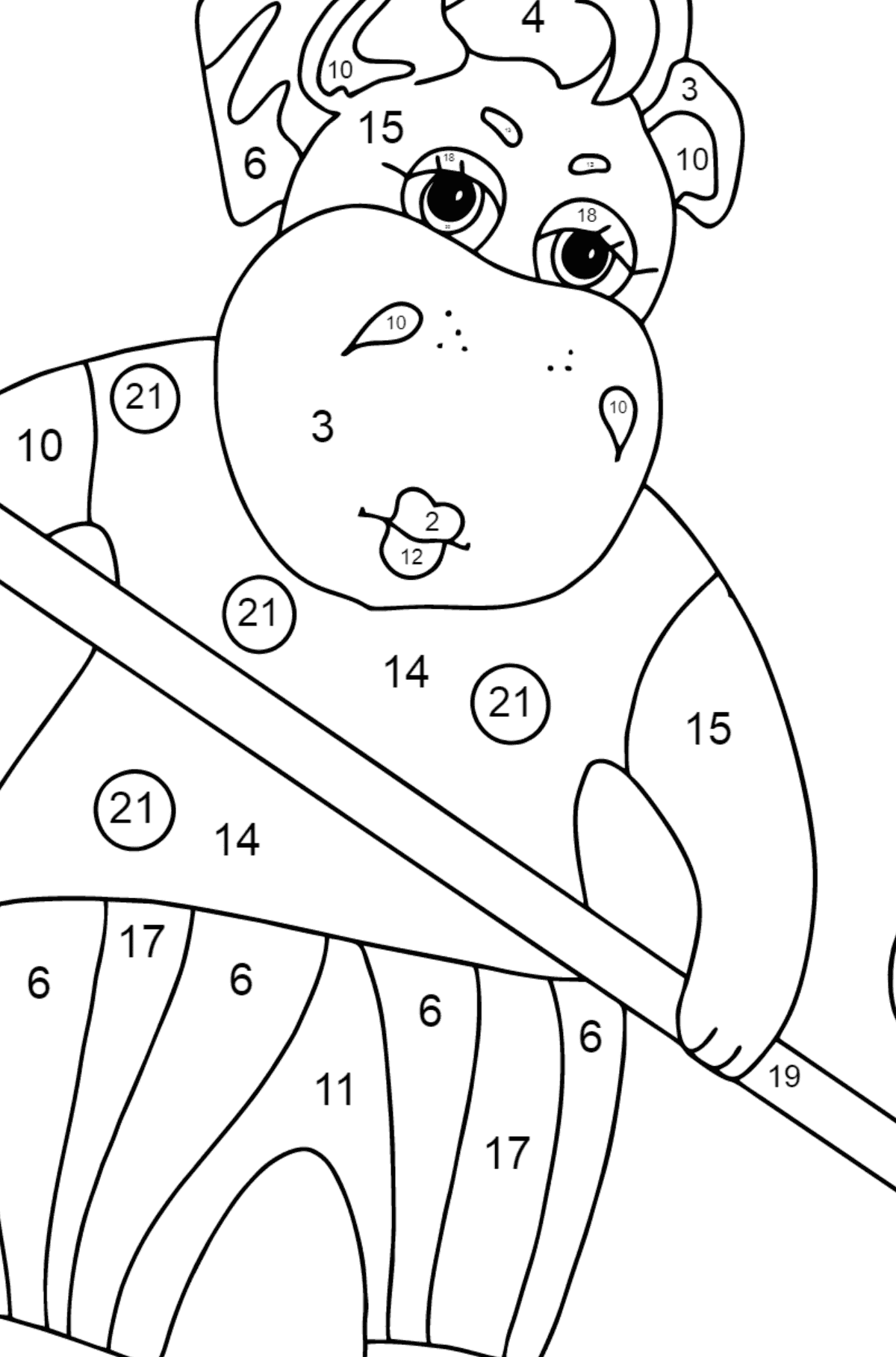 Coloring Page - A Hippo is Sweeping Autumn Leaves for Kids  - Color by Number