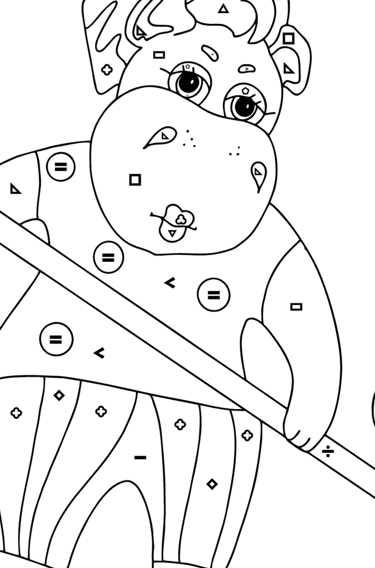 Coloring Page - A Hippo is Sweeping Autumn Leaves for Kids  - Color by Symbols and Geometric Shapes