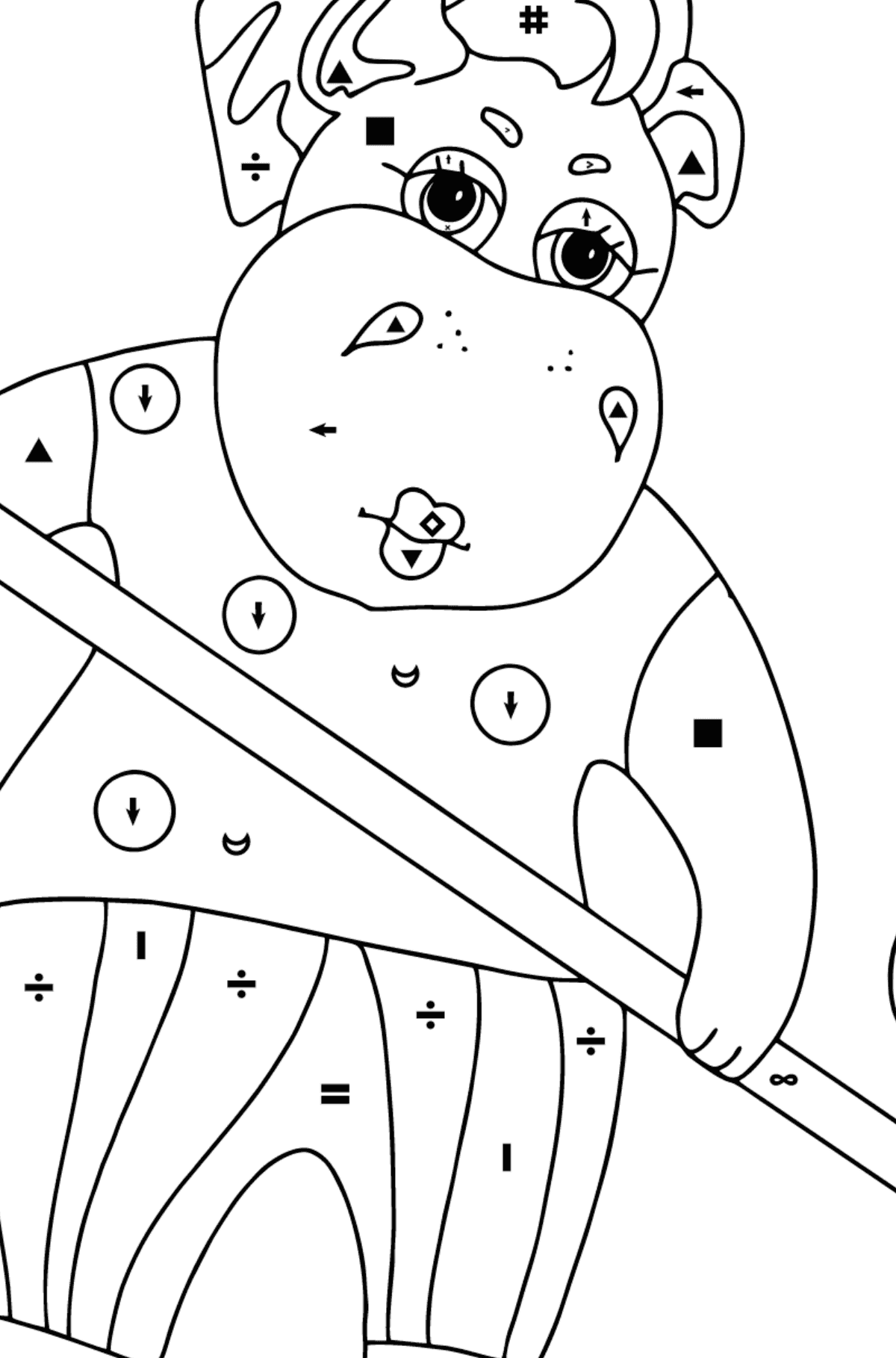 Coloring Page - A Hippo is Sweeping Autumn Leaves for Children  - Color by Special Symbols