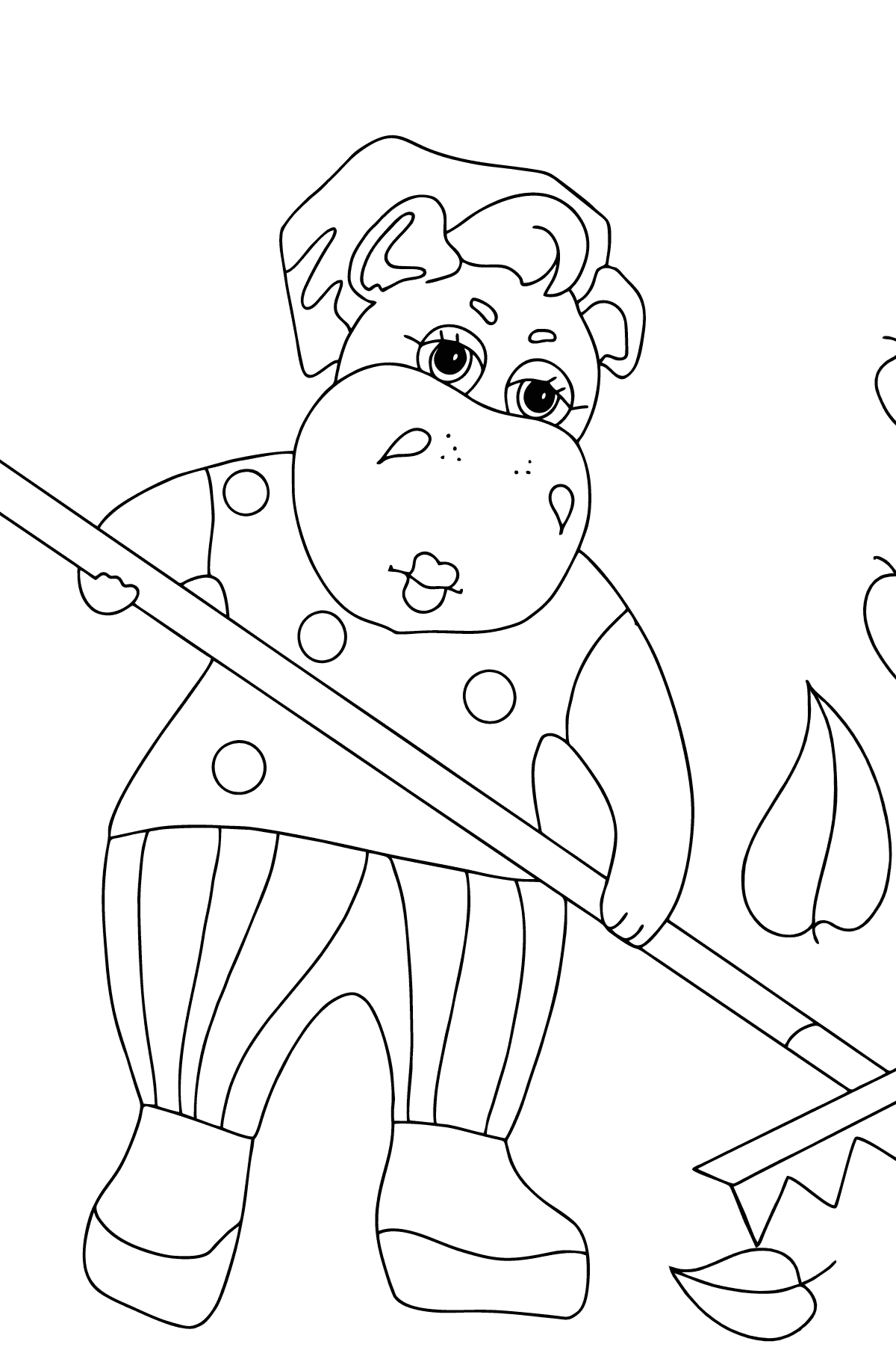 Coloring Page - A Hippo is Sweeping Autumn Leaves for Children