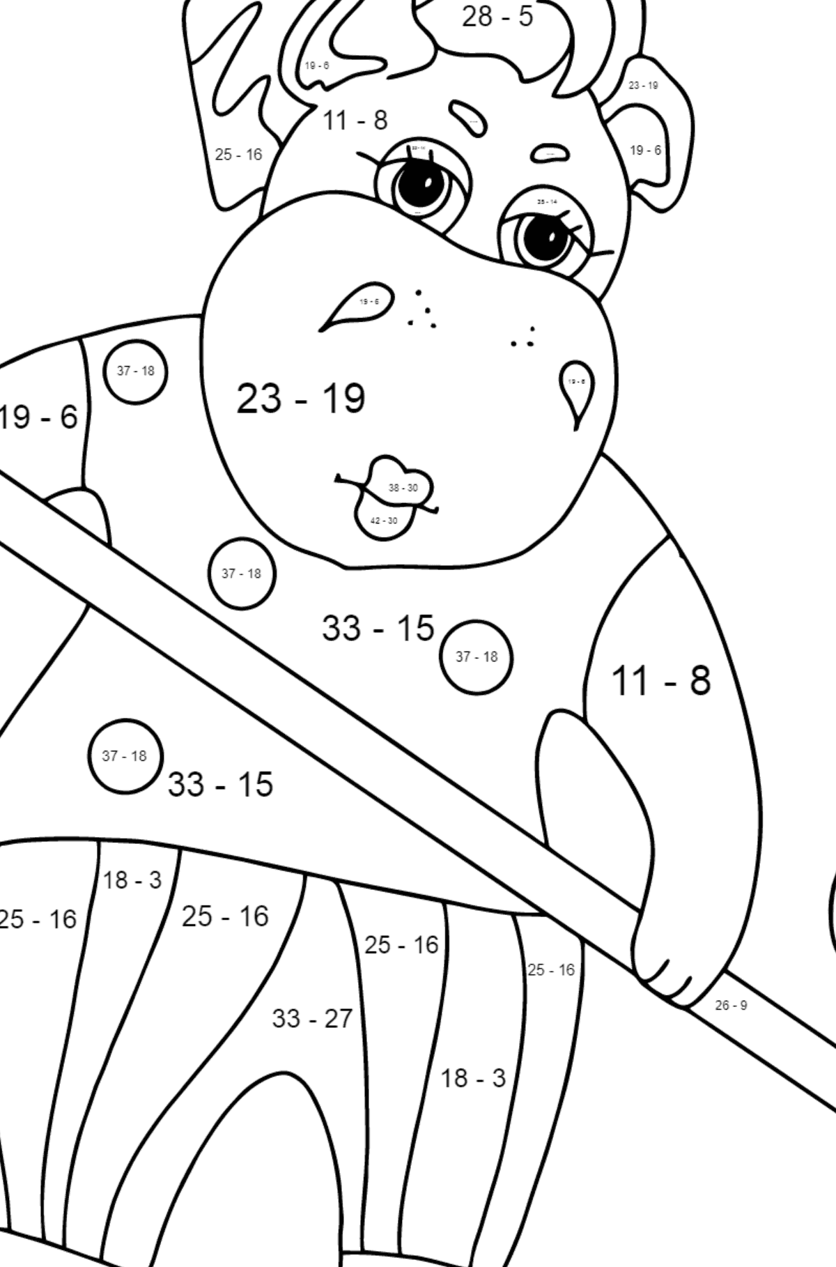 Coloring Page - A Hippo is Sweeping Autumn Leaves for Kids  - Color by Number Substraction