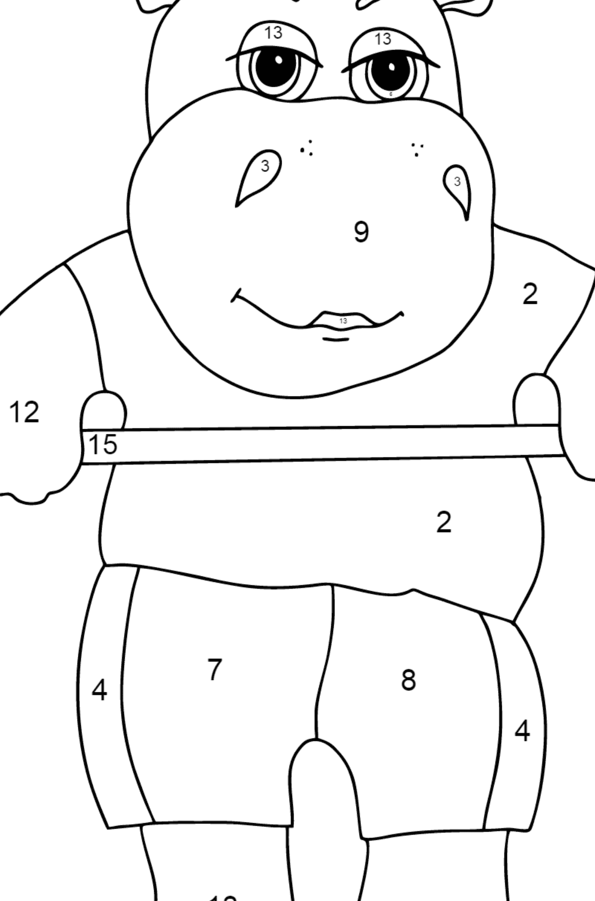 Coloring Page - A Hippo Lifts a Barbell for Children  - Color by Number
