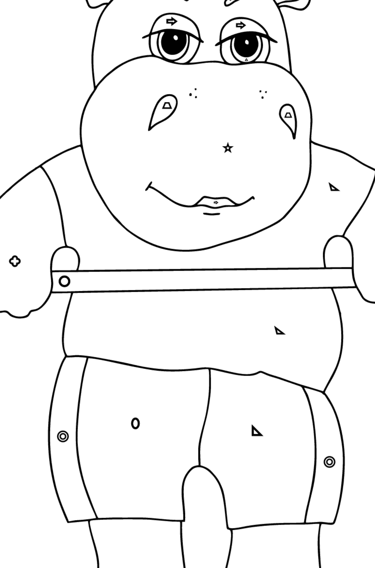 Coloring Page - A Hippo Lifts a Barbell for Kids  - Color by Geometric Shapes