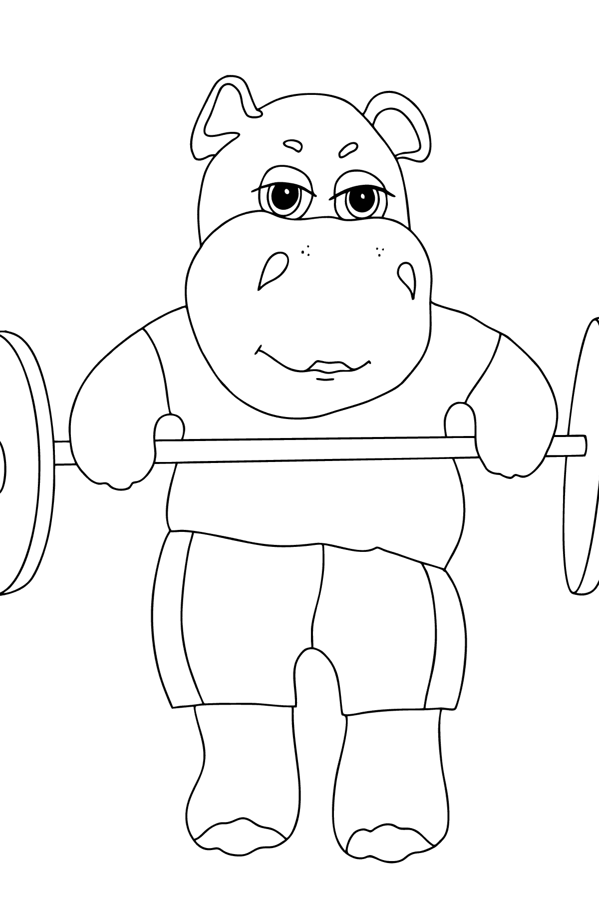 Coloring Page - A Hippo Lifts a Barbell for Kids