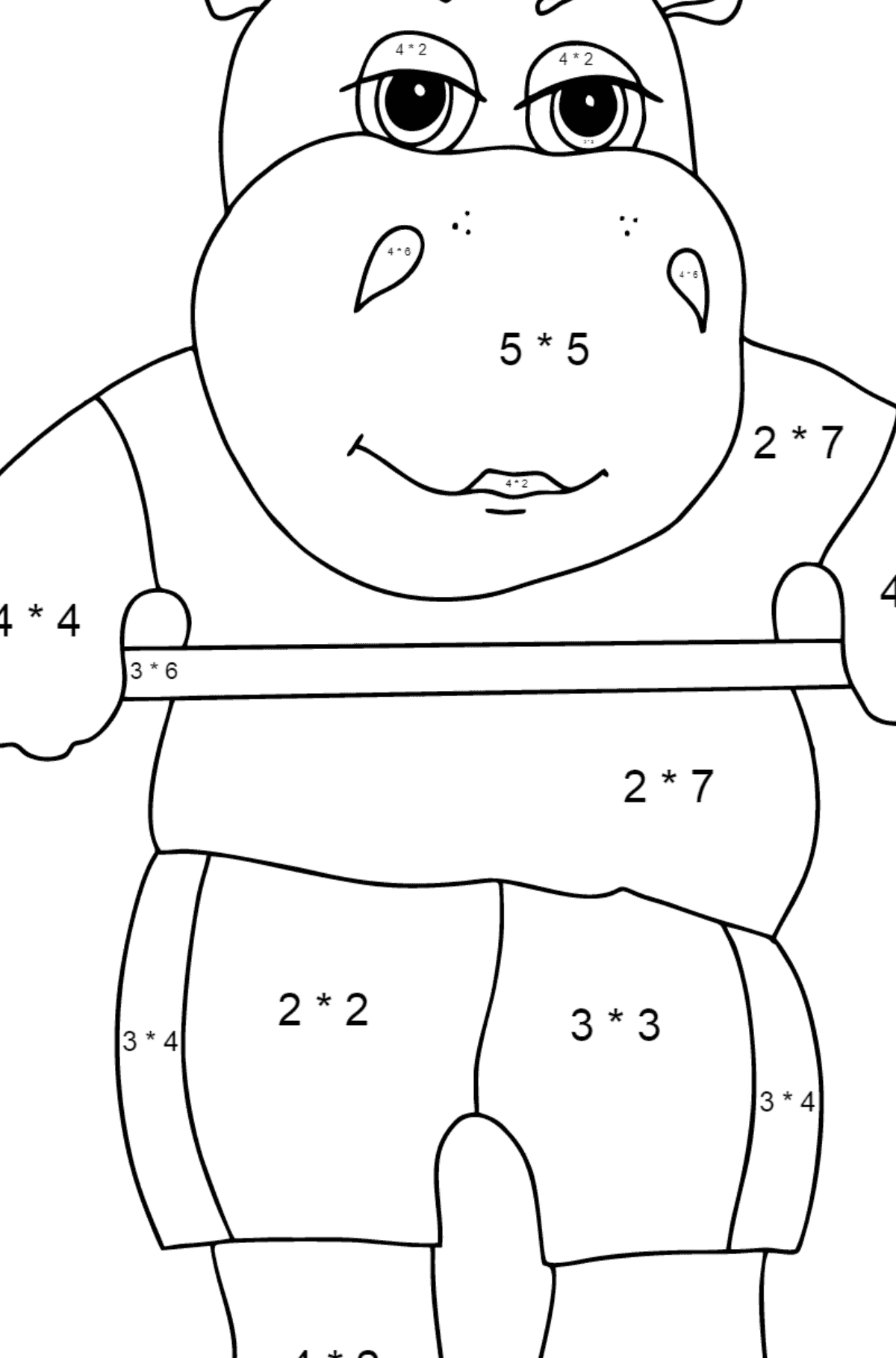 Coloring Page - A Hippo Lifts a Barbell for Children  - Color by Number Multiplication
