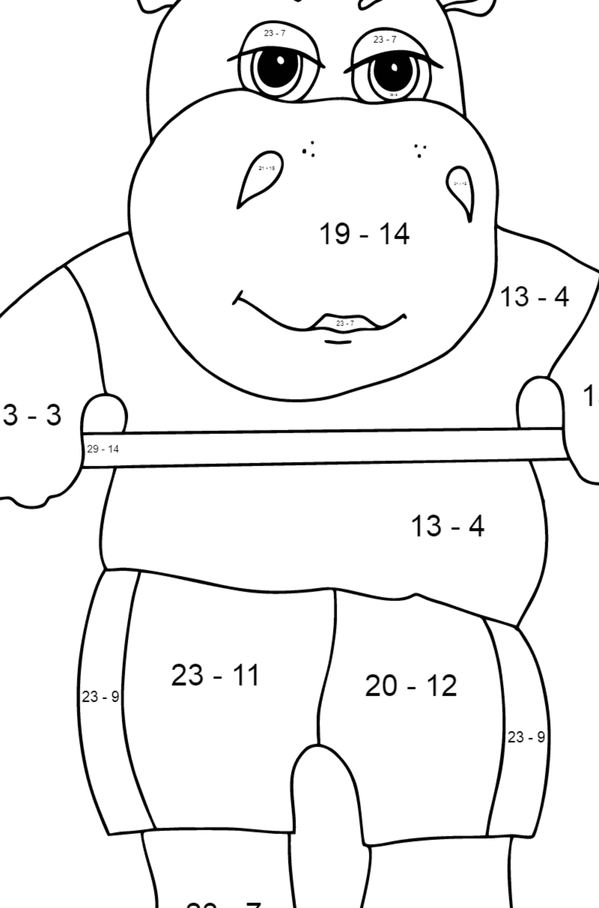 Coloring Page - A Hippo Lifts a Barbell for Children  - Color by Number Substraction