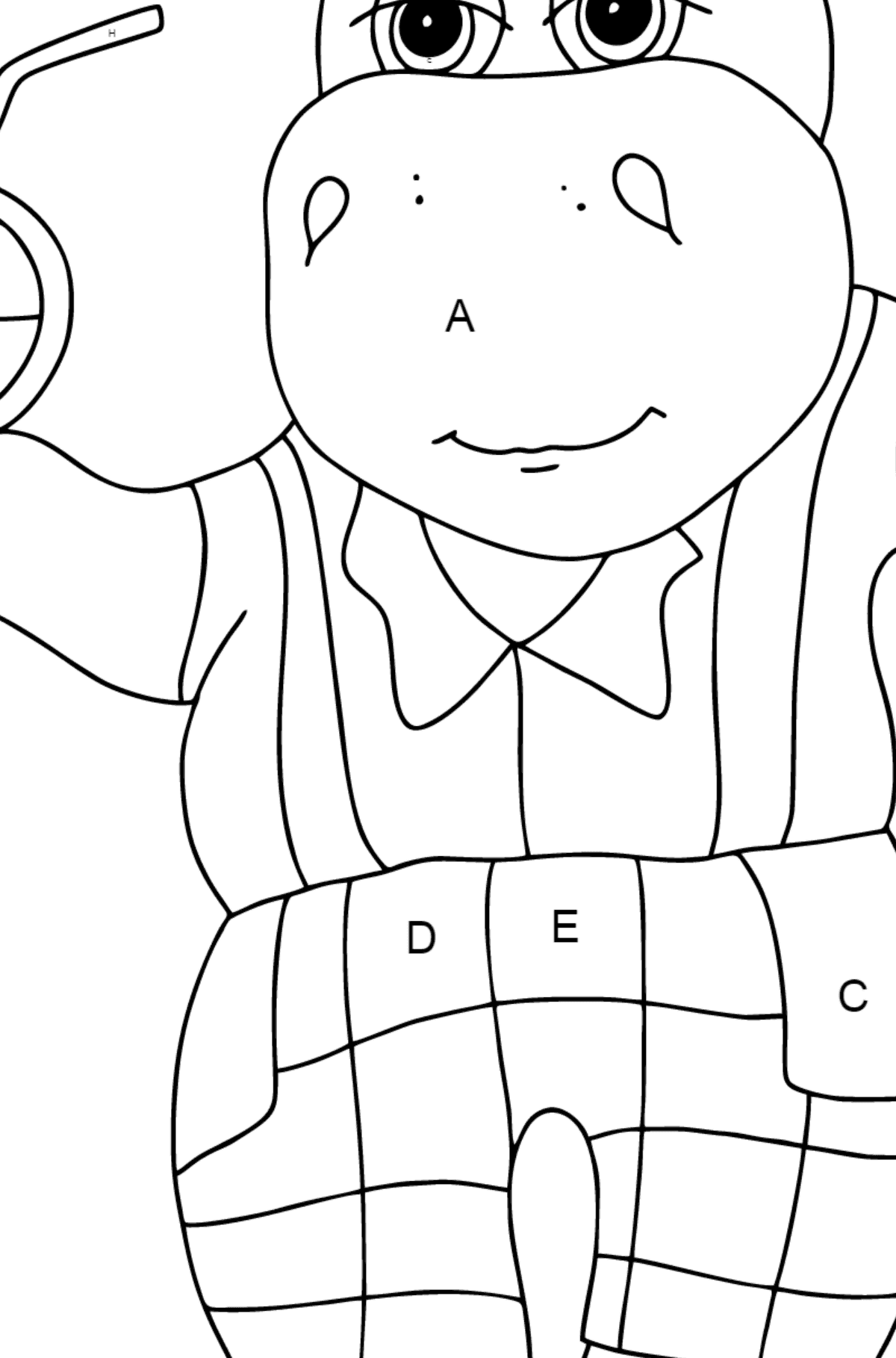 Coloring Page - A Hippo on a Beach with Juice for Kids  - Color by Letters