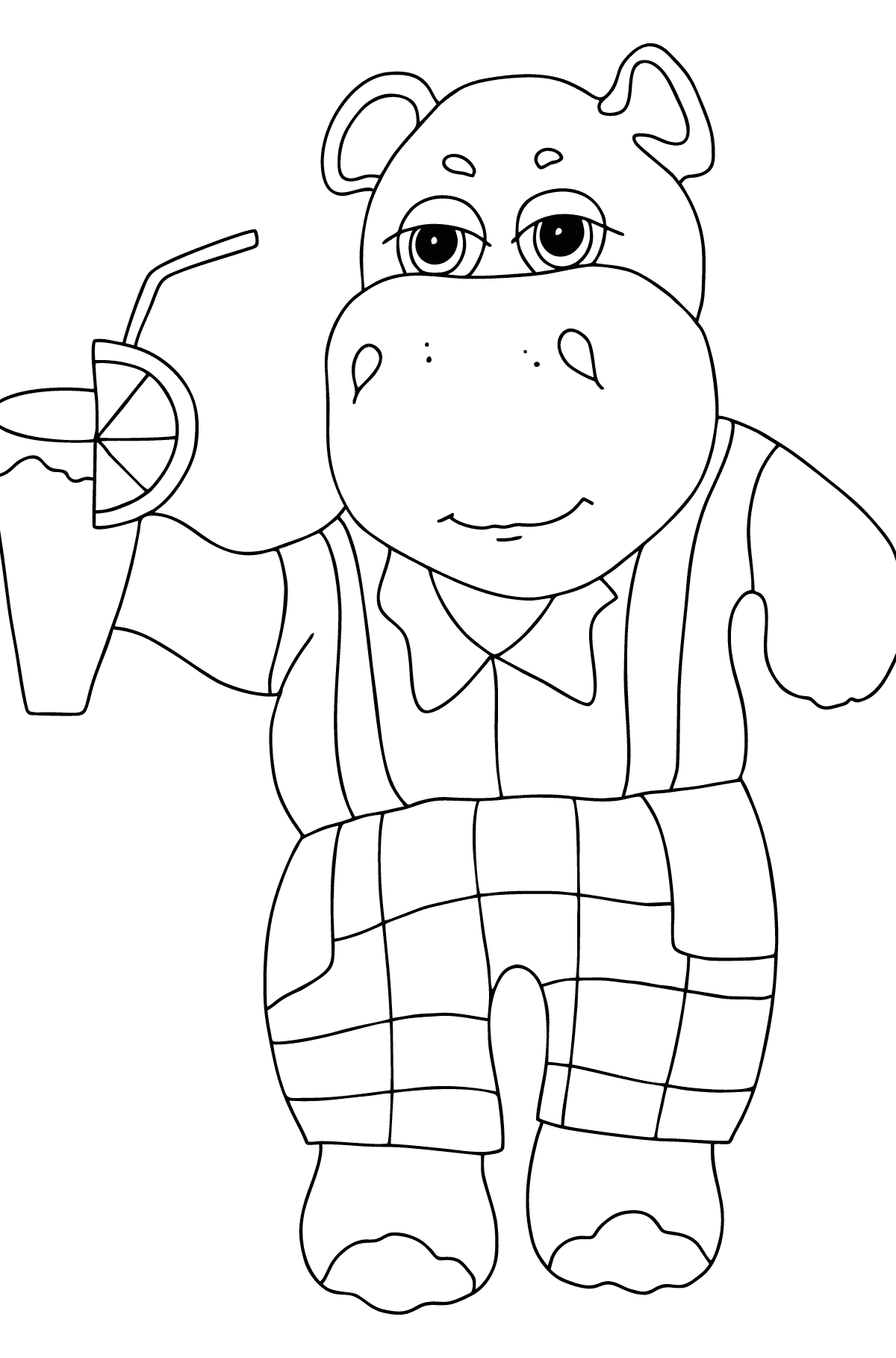 Coloring Page - A Hippo on a Beach with Juice for Children