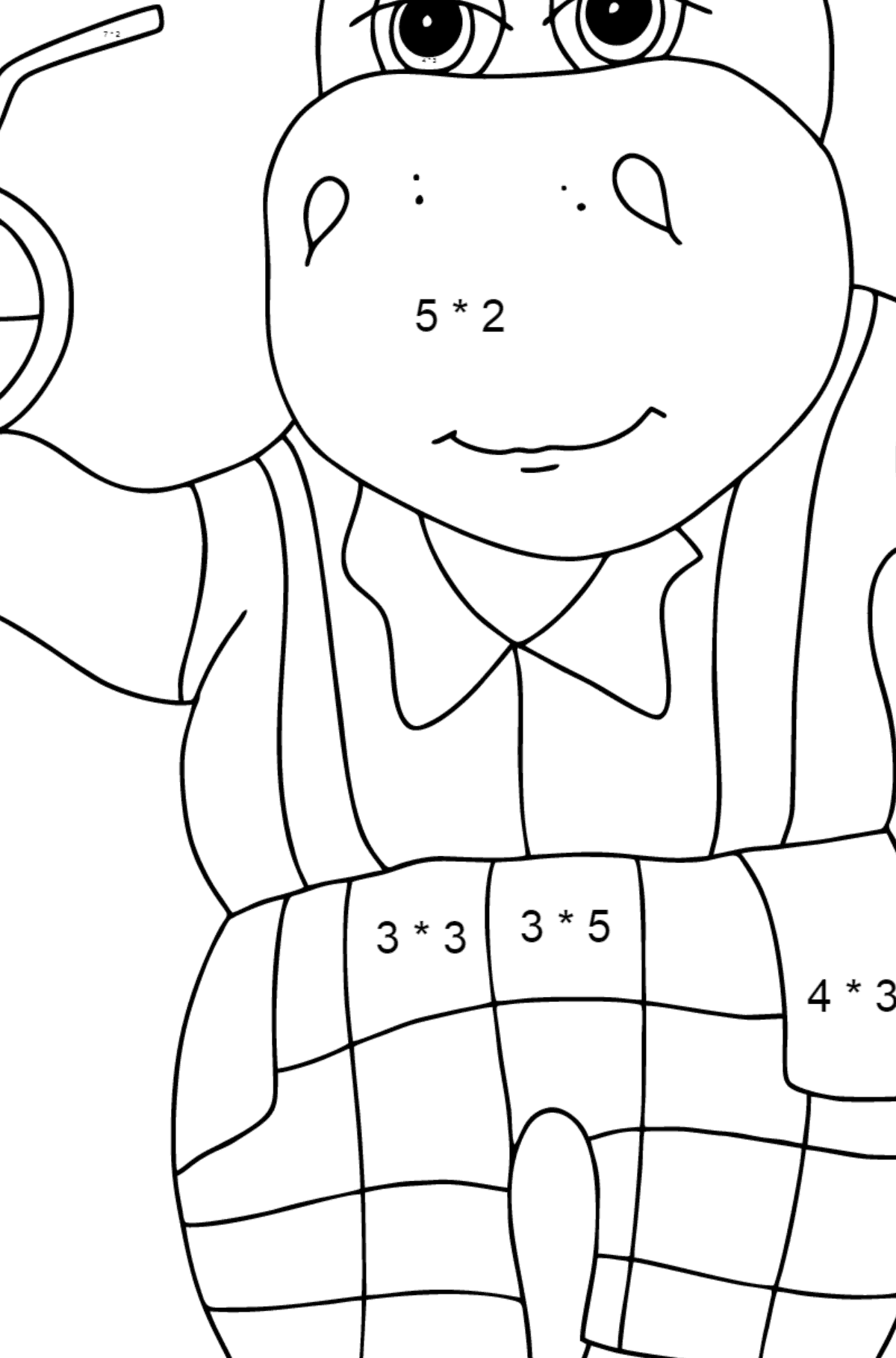 Coloring Page - A Hippo on a Beach with Juice for Kids  - Color by Number Multiplication