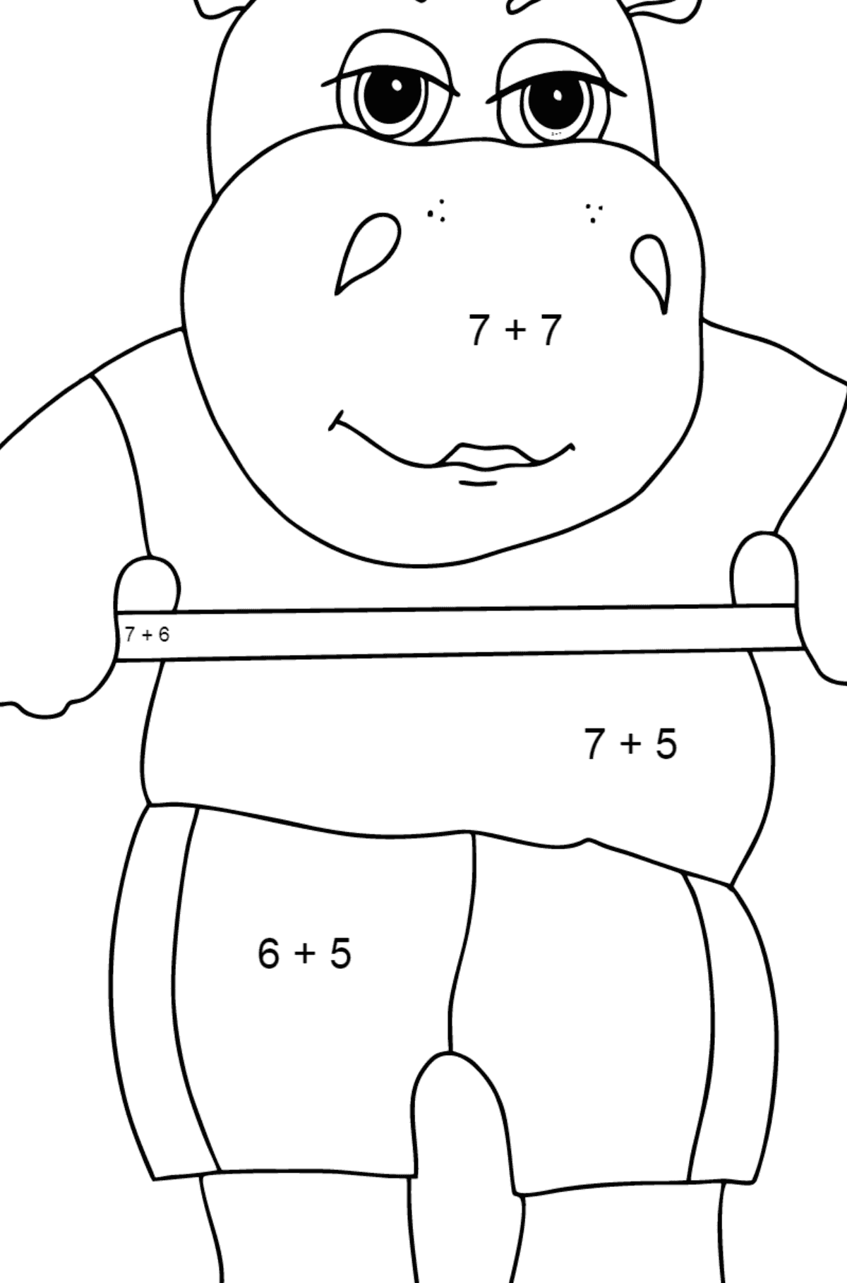 Coloring Page - A Hippo with a Barbell for Kids  - Color by Number Addition