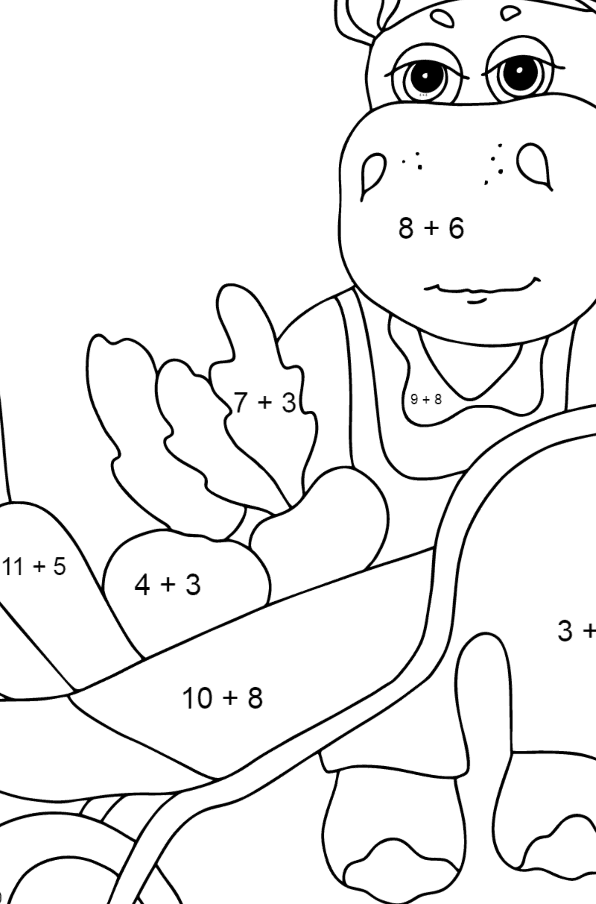 Coloring Page - A Hippo with a Cart for Children  - Color by Number Addition