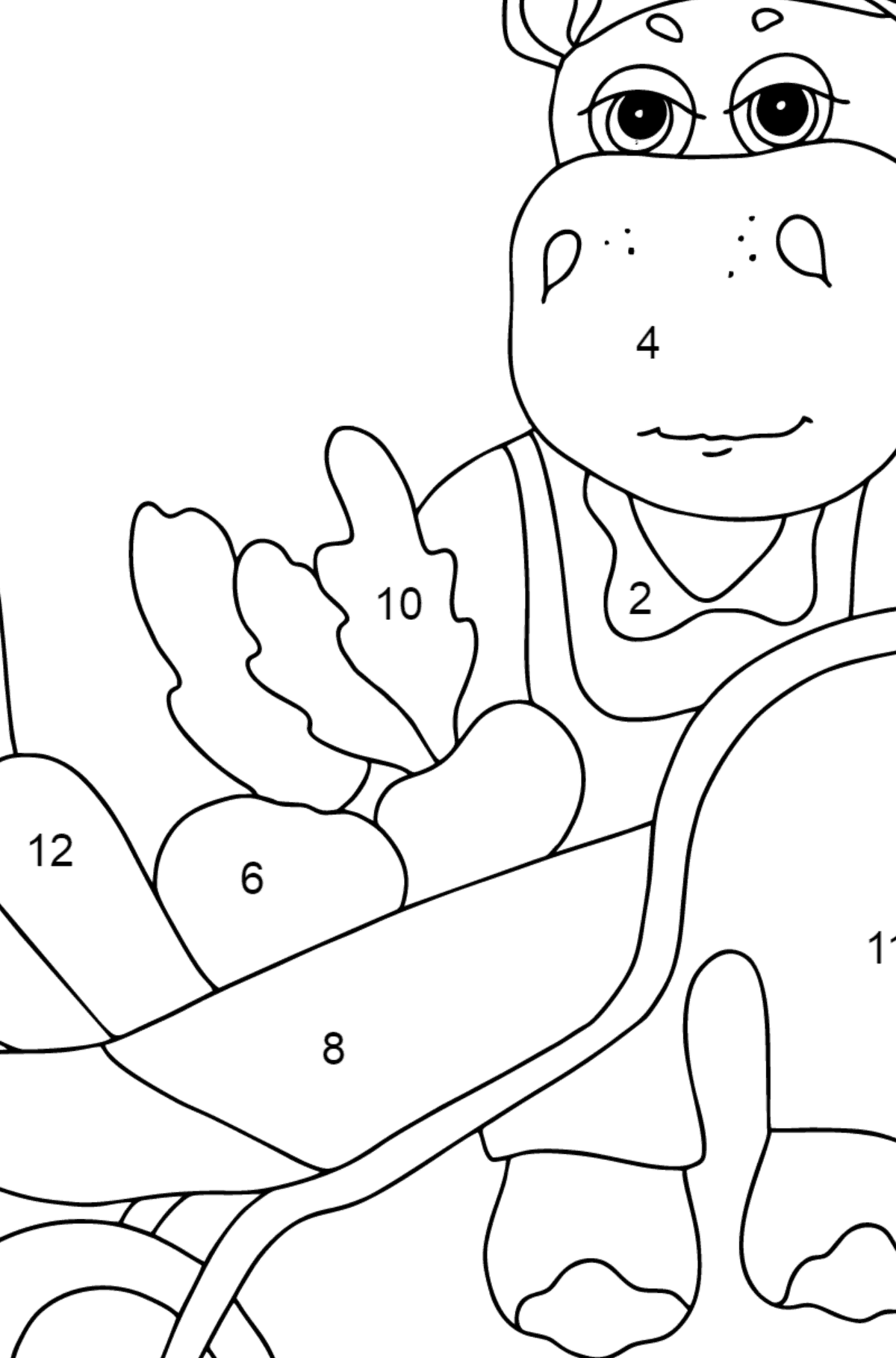 Coloring Page - A Hippo with a Cart for Kids  - Color by Number