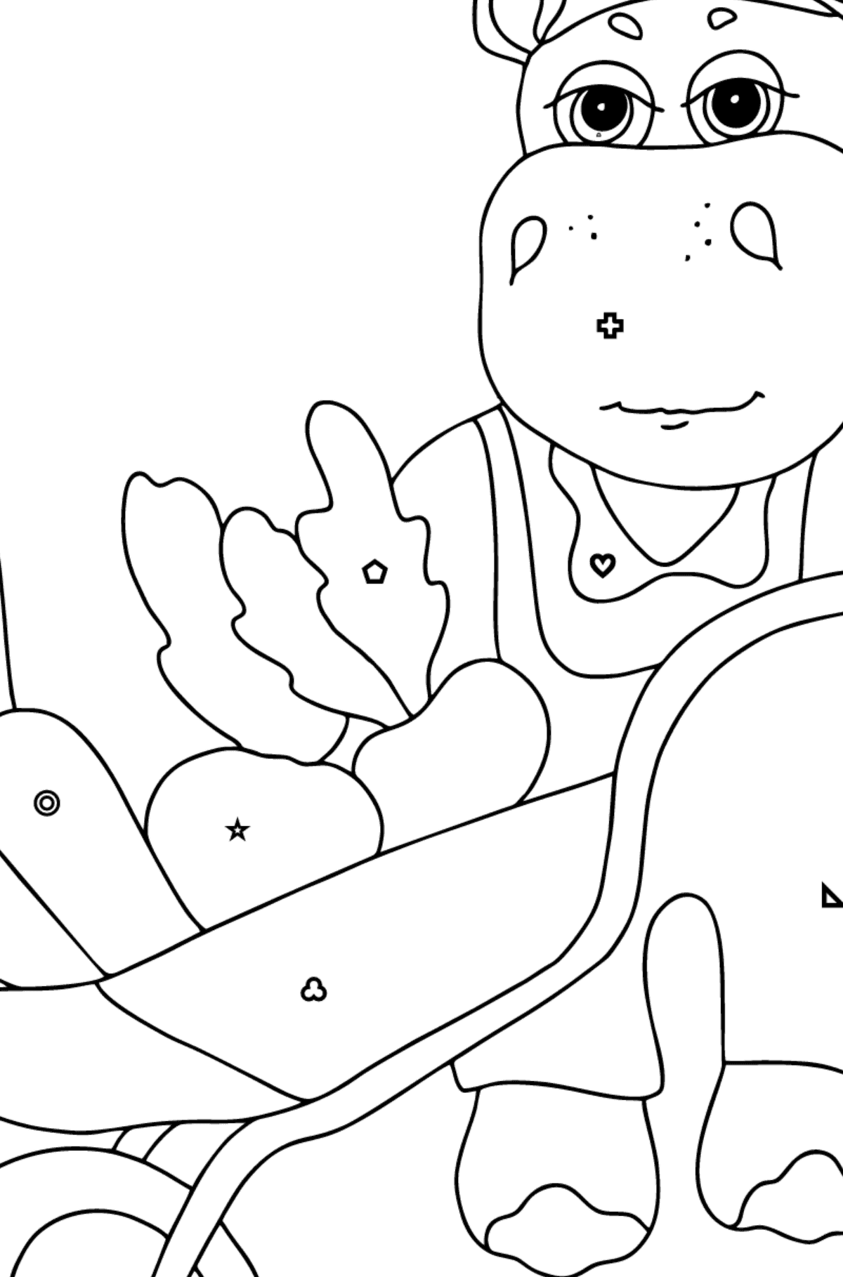 Coloring Page - A Hippo with a Cart for Kids  - Color by Geometric Shapes