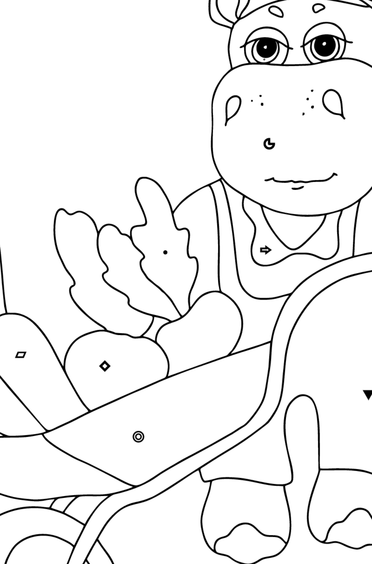Coloring Page - A Hippo with a Cart for Children  - Color by Symbols and Geometric Shapes