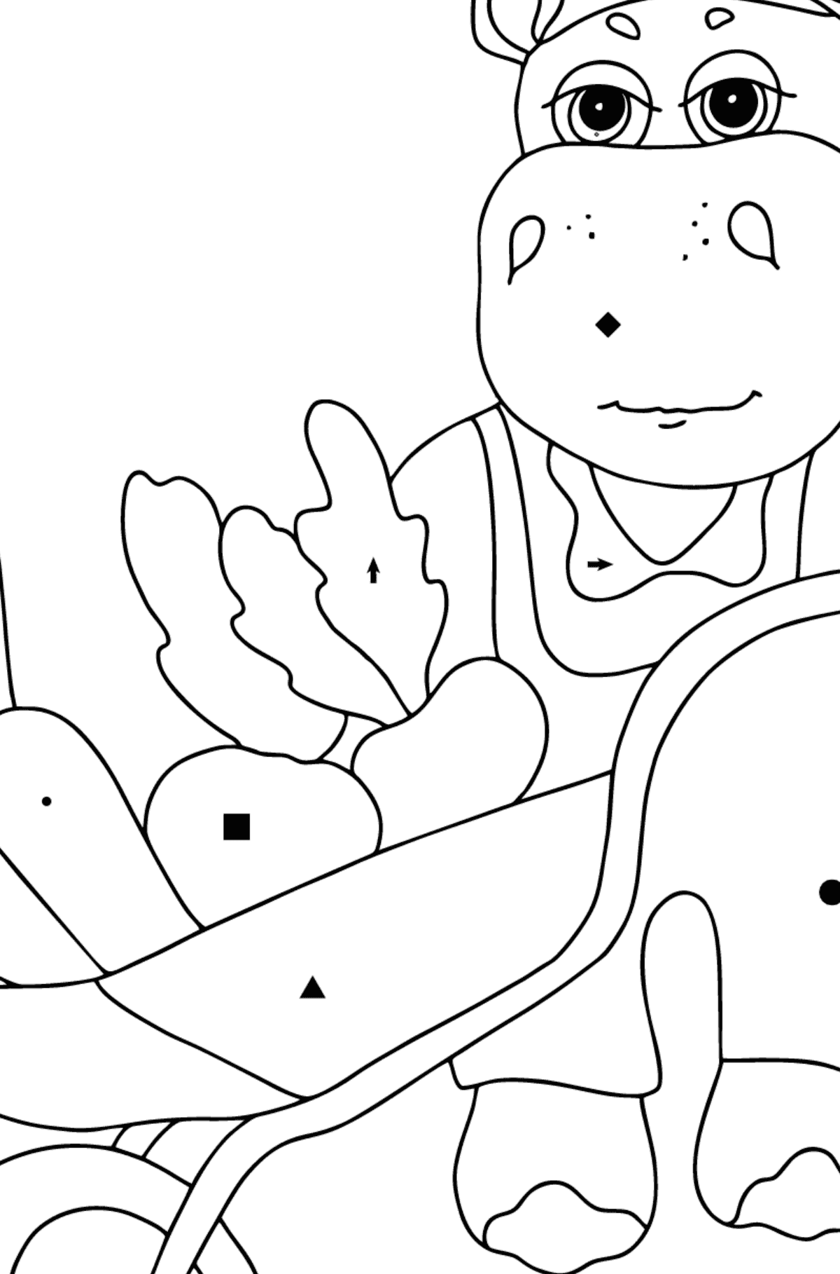 Coloring Page - A Hippo with a Cart for Kids  - Color by Special Symbols