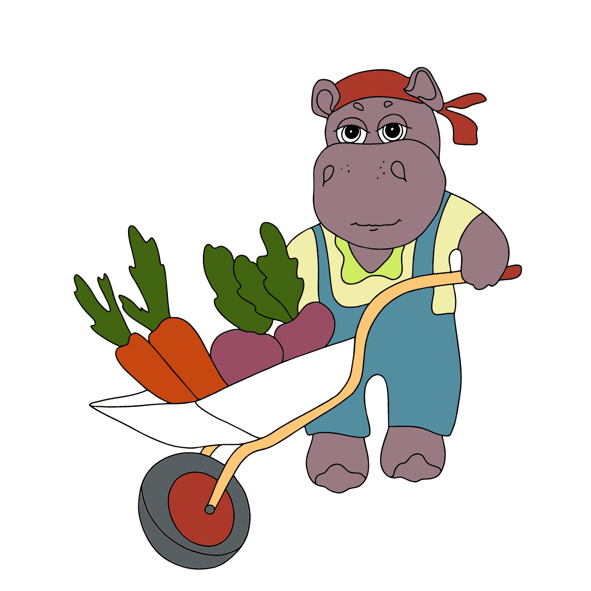 Coloring Page - A Hippo with a Cart
