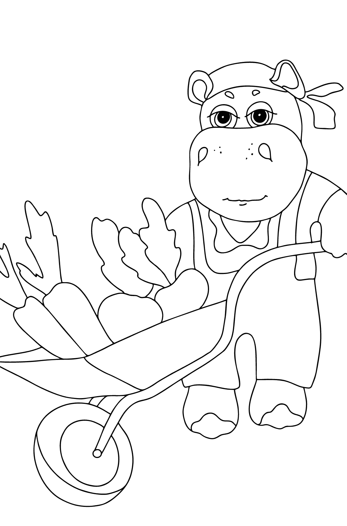 Coloring Page - A Hippo with a Cart for Kids