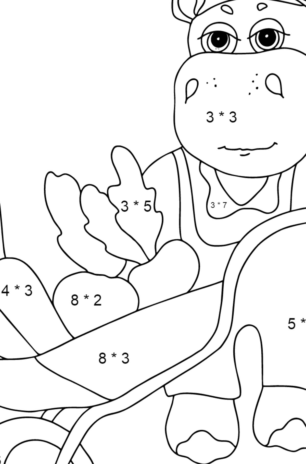 Coloring Page - A Hippo with a Cart for Kids  - Color by Number Multiplication