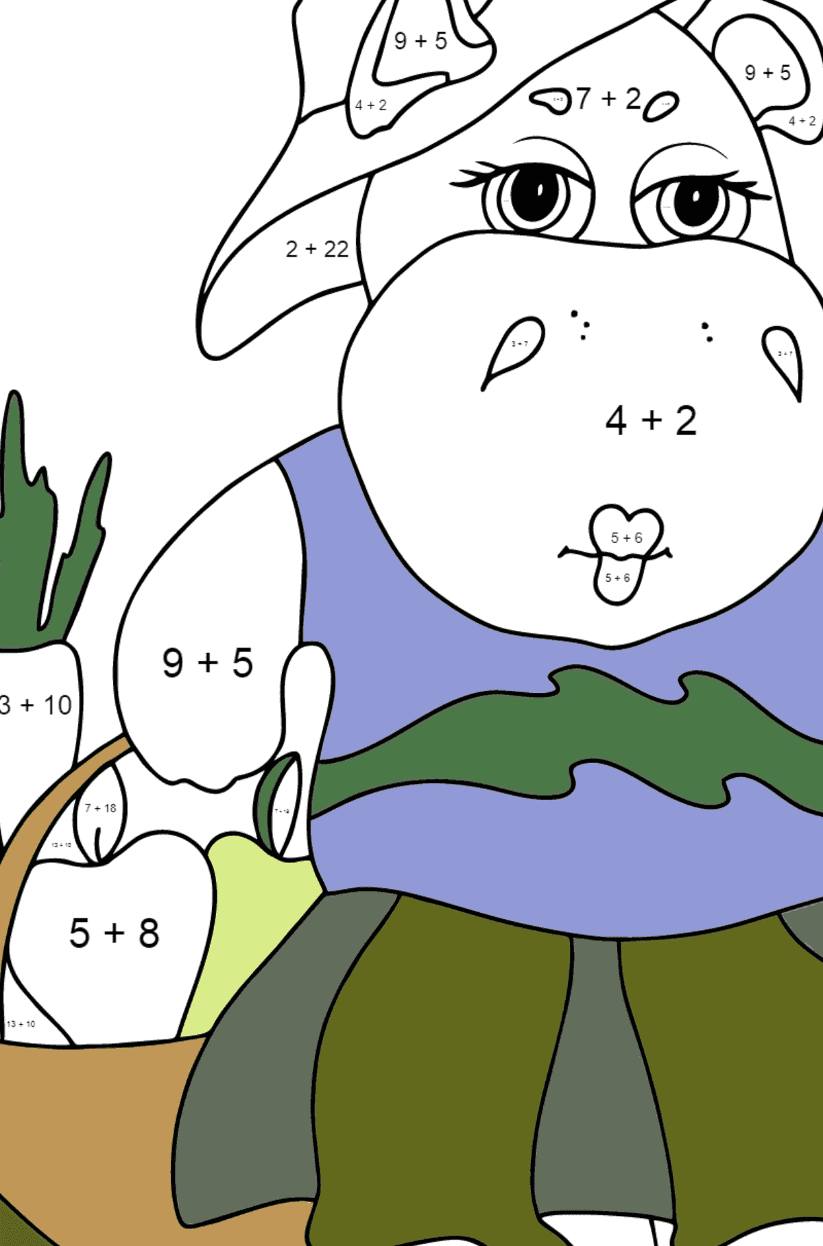 Coloring Page - A Hippo with a Crop Basket for Kids  - Color by Number Addition