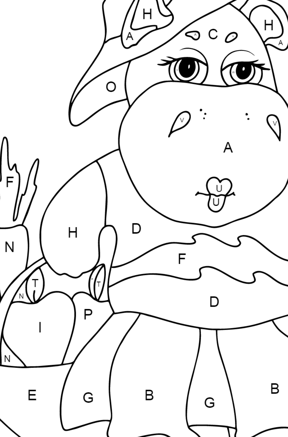 Coloring Page - A Hippo with a Crop Basket for Kids  - Color by Letters