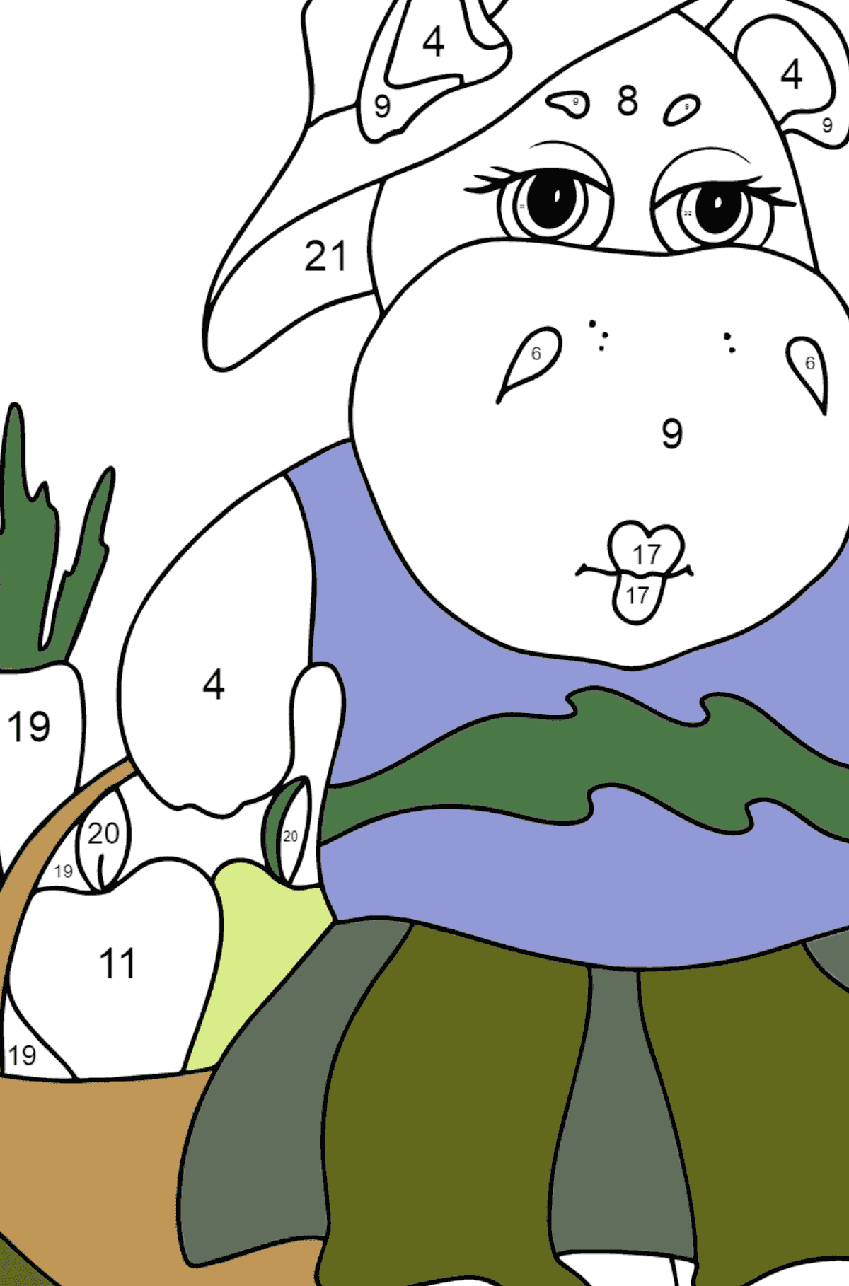 Coloring Page - A Hippo with a Crop Basket for Children  - Color by Number