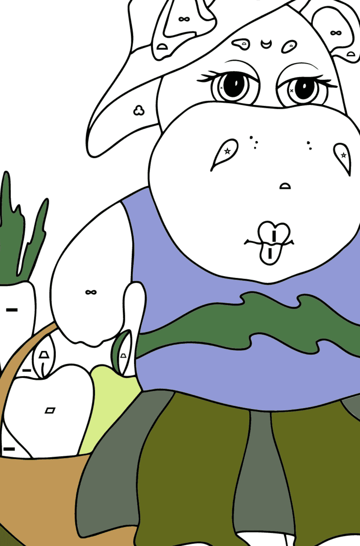 Coloring Page - A Hippo with a Crop Basket for Children  - Color by Symbols and Geometric Shapes