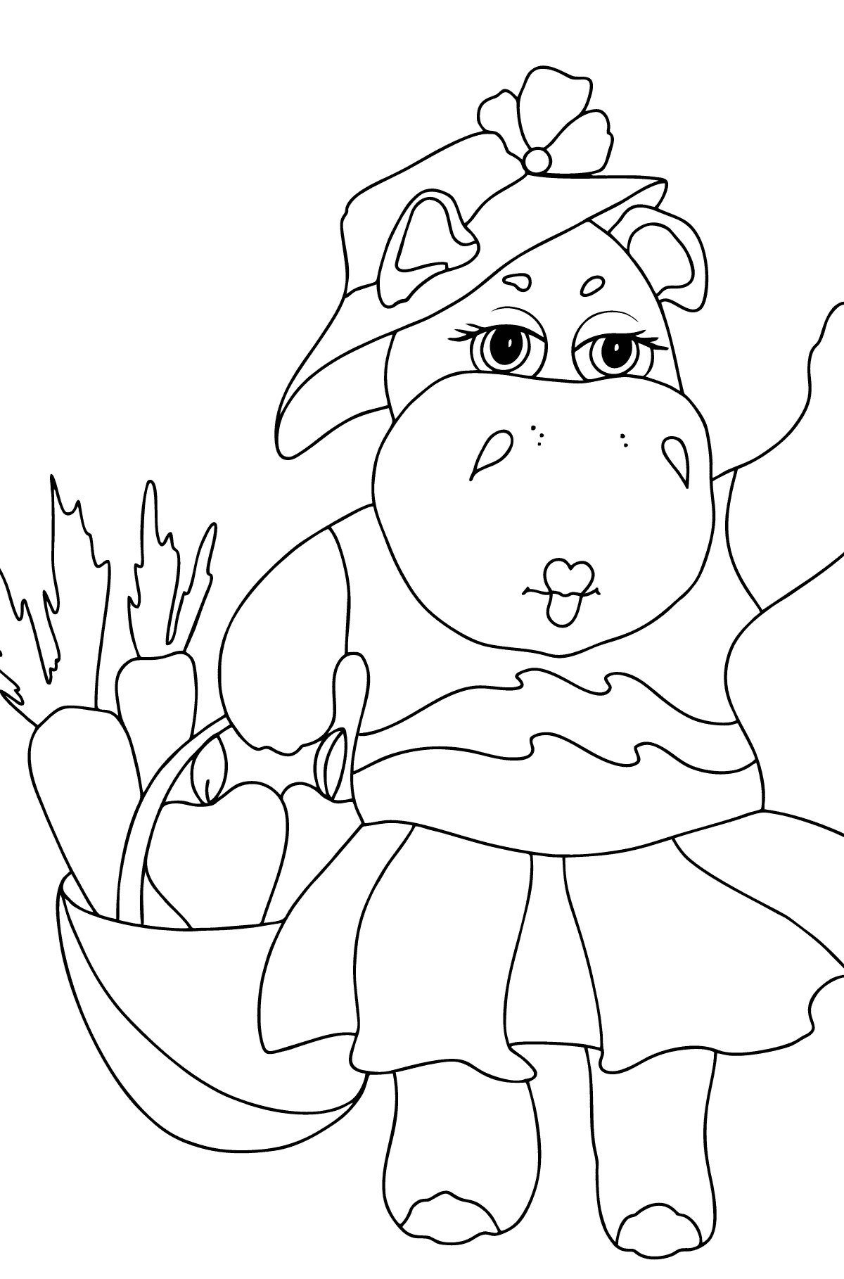 Coloring Page - A Hippo with a Crop Basket for Children