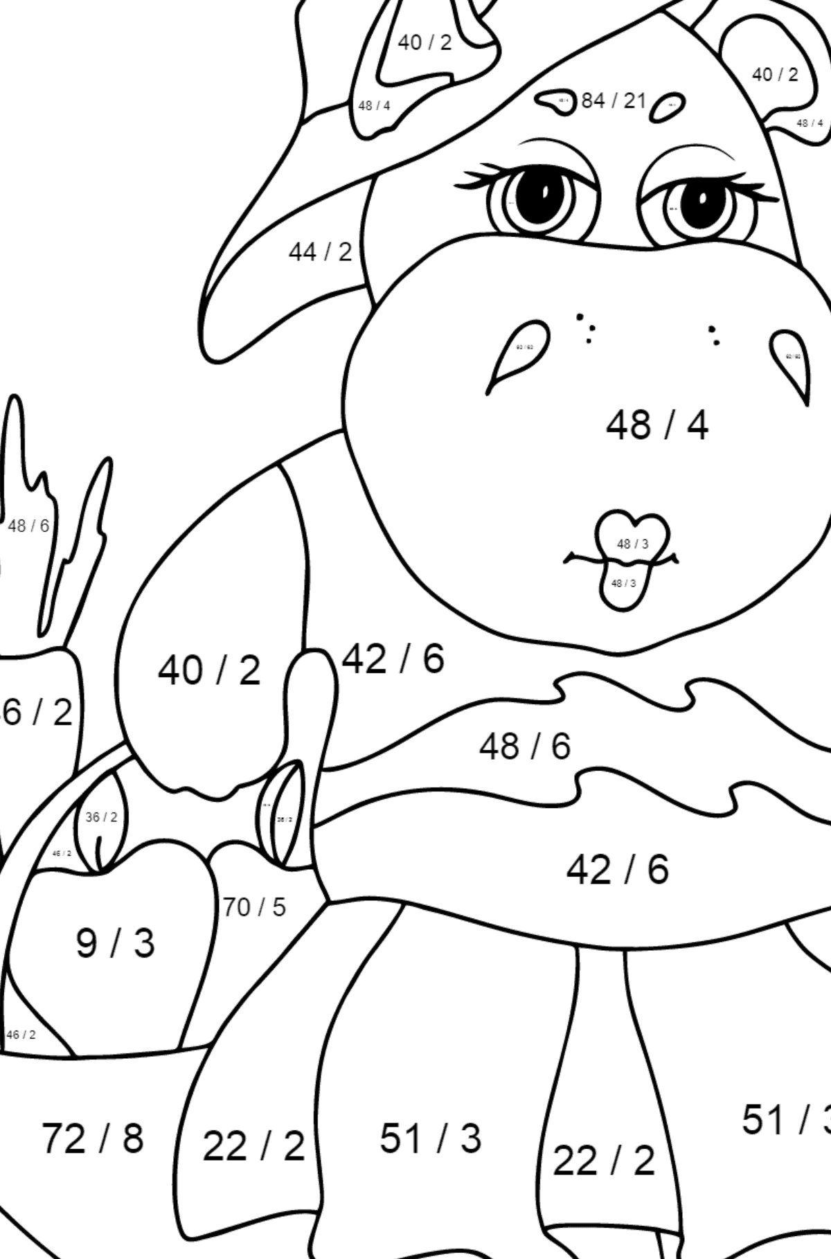 Coloring Page - A Hippo with a Crop Basket for Kids  - Color by Number Division