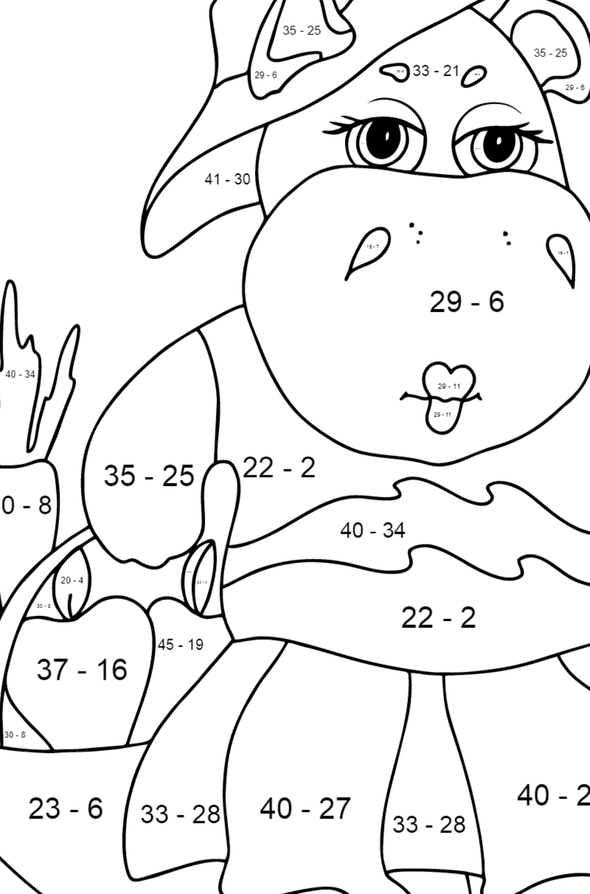 Coloring Page - A Hippo with a Crop Basket for Children  - Color by Number Substraction