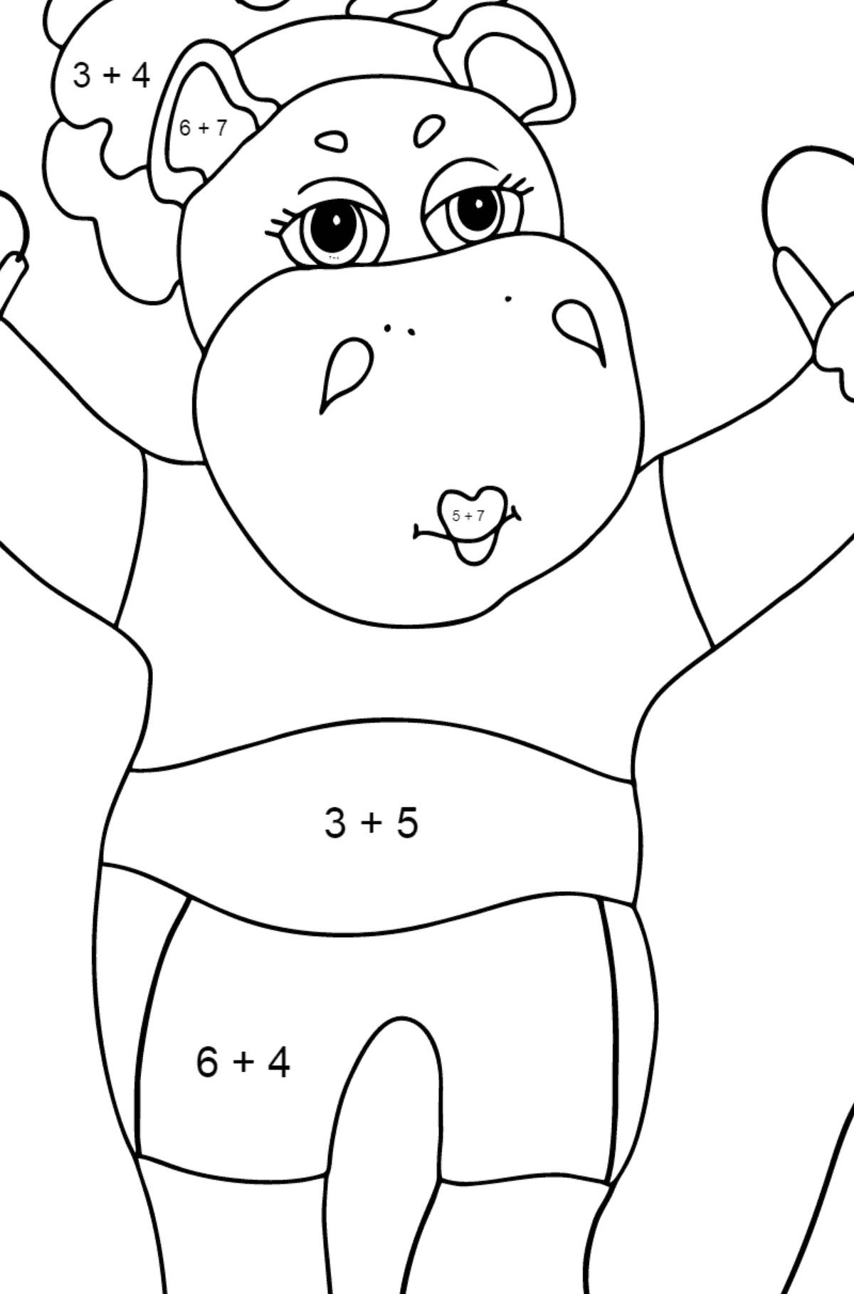 Coloring Page - A Hippo with a Jump Rope for Children  - Color by Number Addition