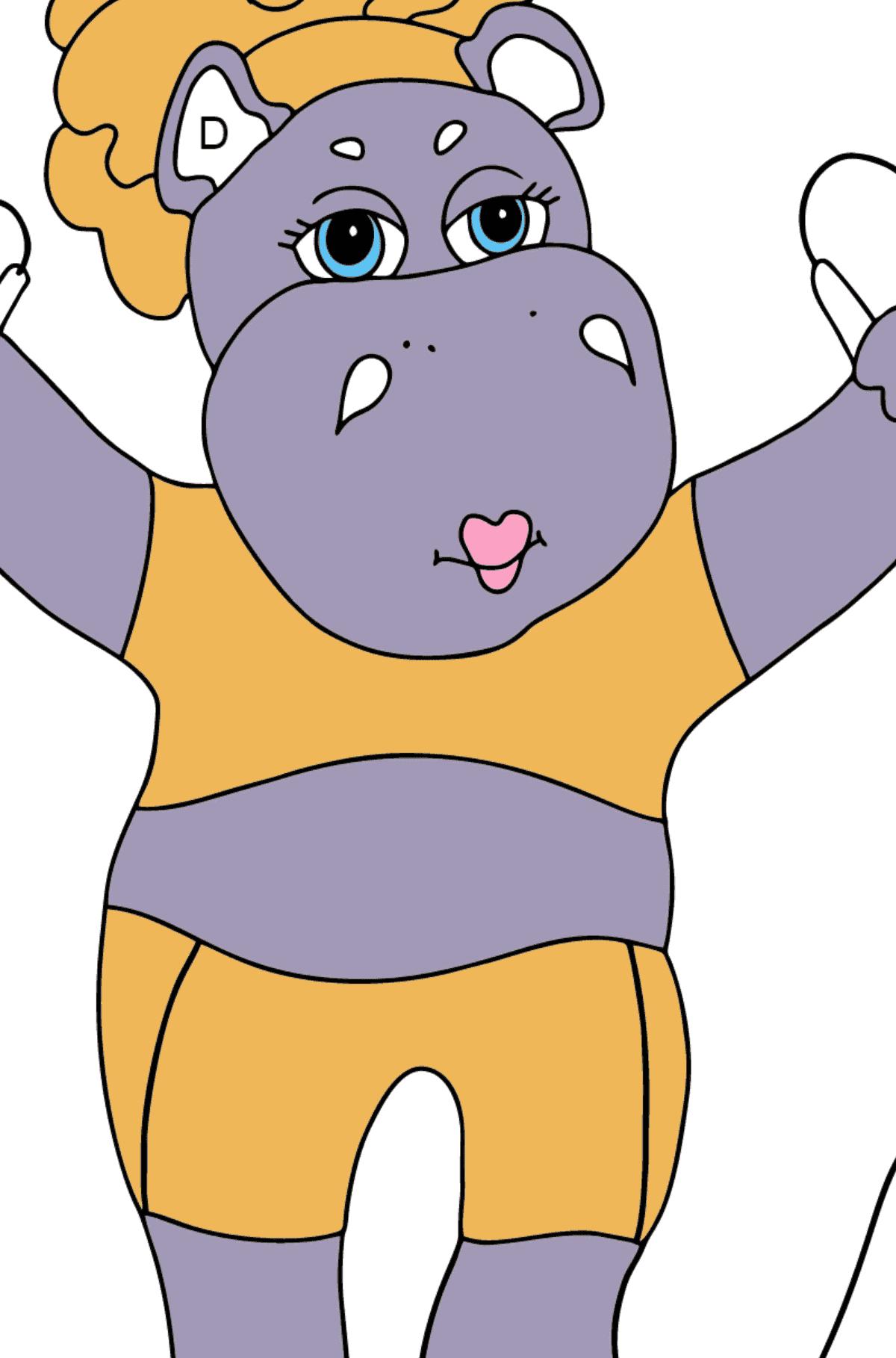 Desenho para colorir - um hipopótamo com uma corda de pular