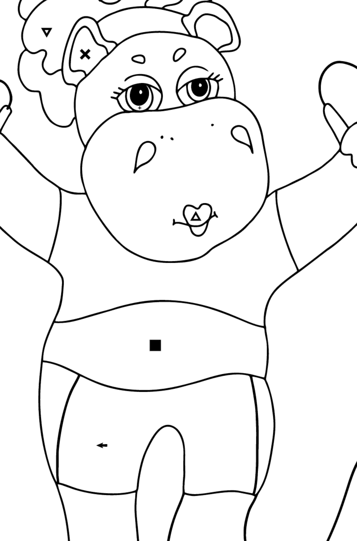 Coloring Page - A Hippo with a Jump Rope for Children  - Color by Special Symbols