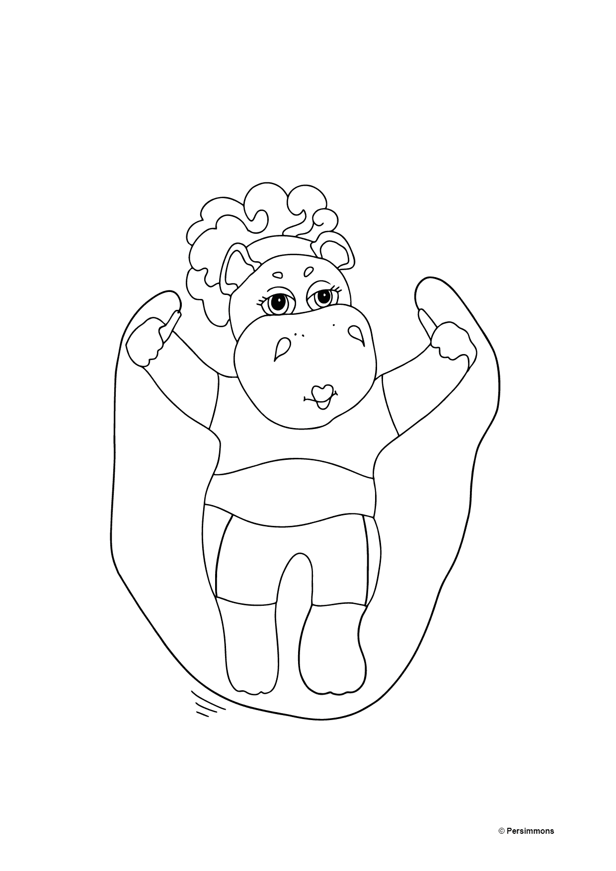 Coloring Page - A Hippo with a Jump Rope for Kids