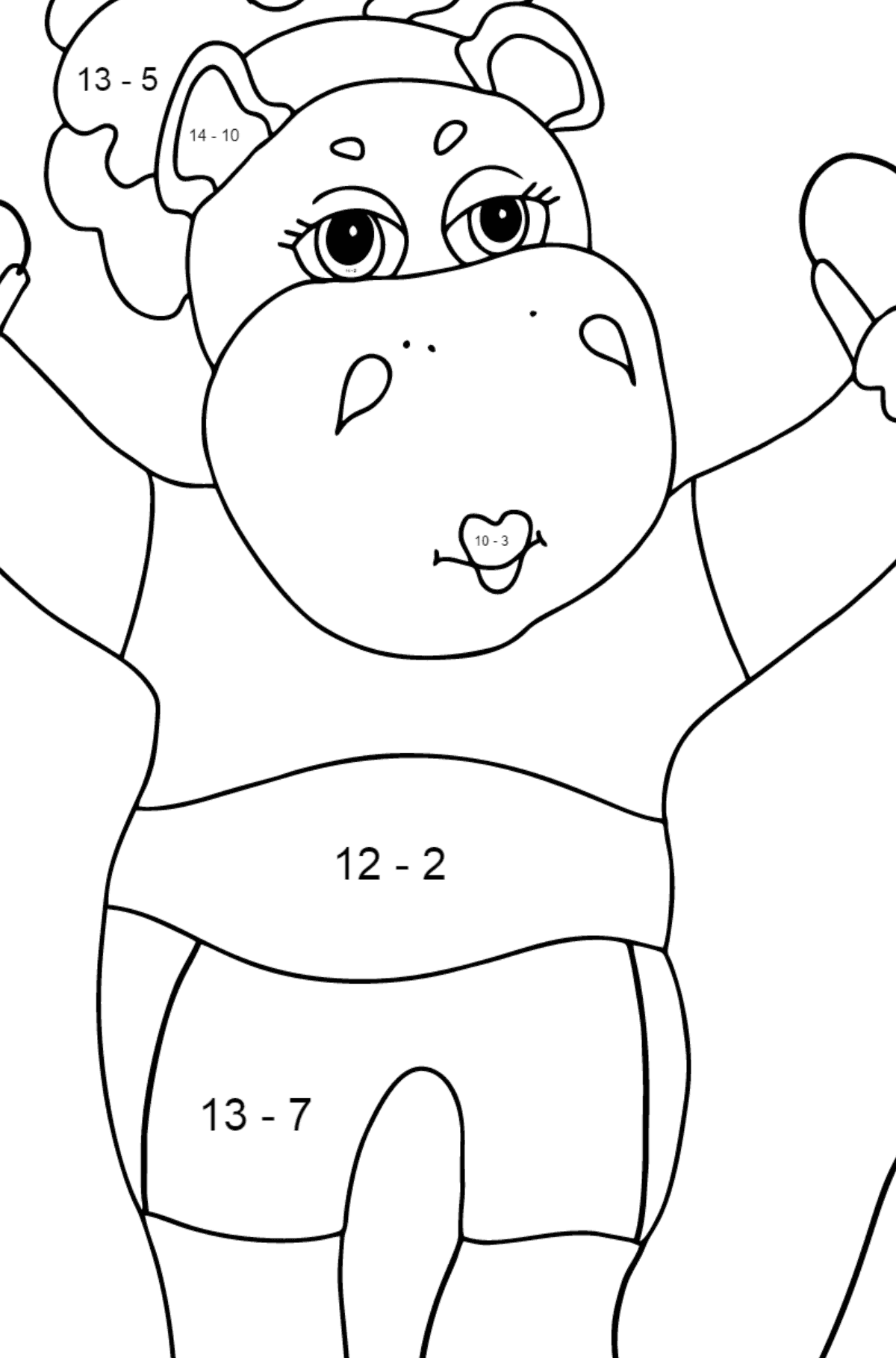 Coloring Page - A Hippo with a Jump Rope for Kids  - Color by Number Substraction