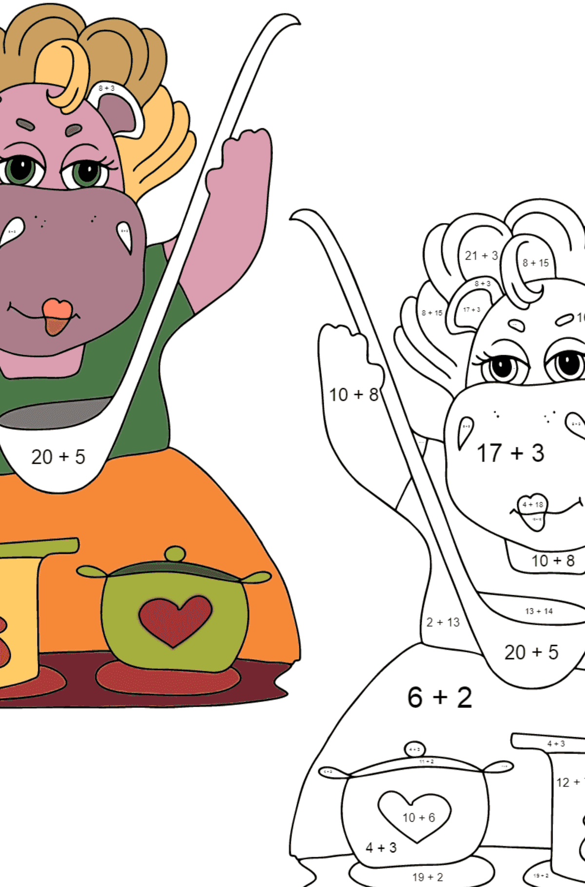 Coloring Page - Hippos are Cooking a Delicious Lunch for Kids  - Color by Number Addition