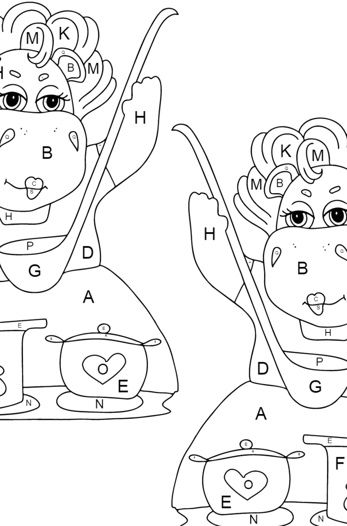 Coloring Page - Hippos are Cooking a Delicious Lunch for Kids  - Color by Letters