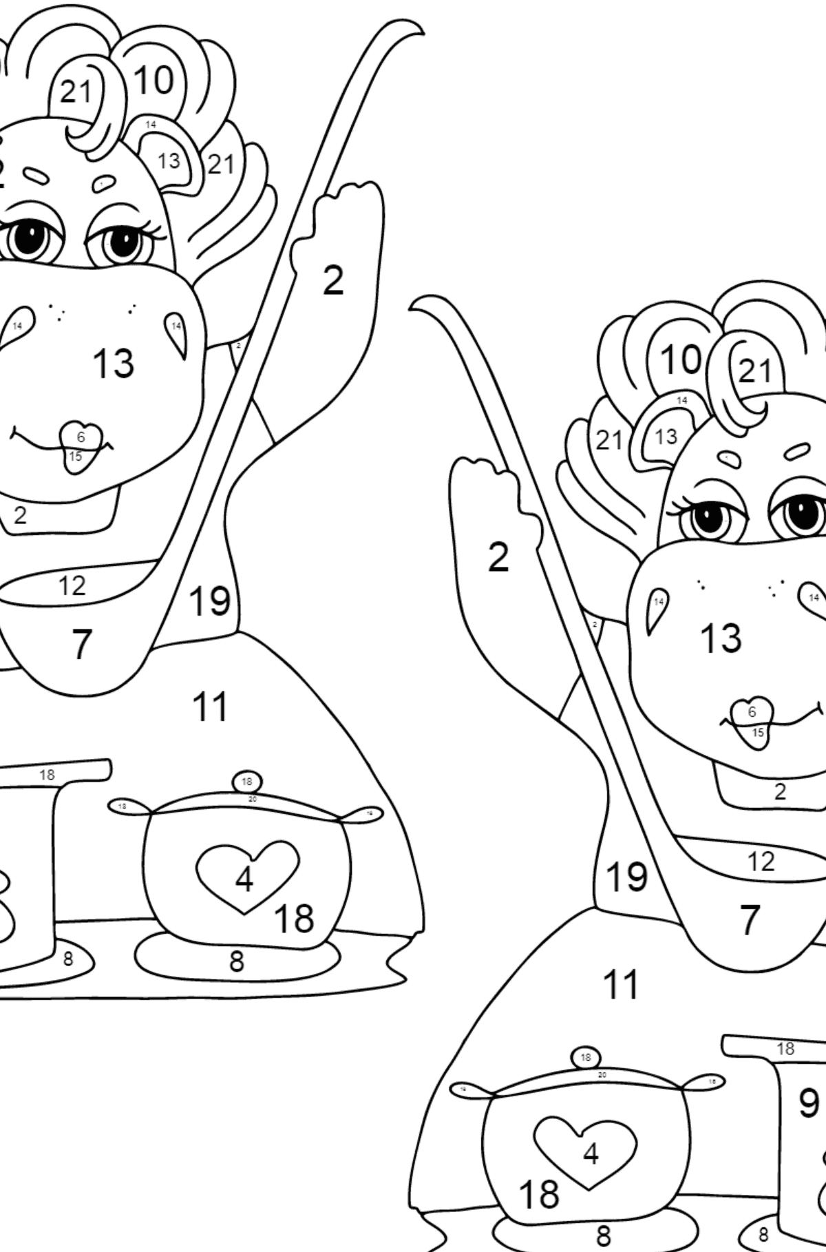 Coloring Page - Hippos are Cooking a Delicious Lunch for Kids  - Color by Number