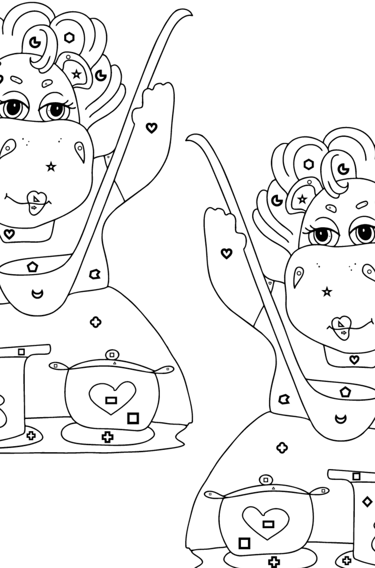 Coloring Page - Hippos are Cooking a Delicious Lunch for Children  - Color by Geometric Shapes